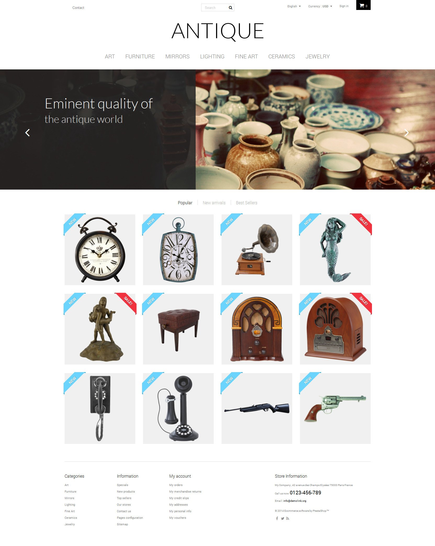 Antique PrestaShop Theme