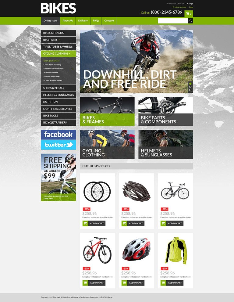 Bike Shop VirtueMart Template New Screenshots BIG
