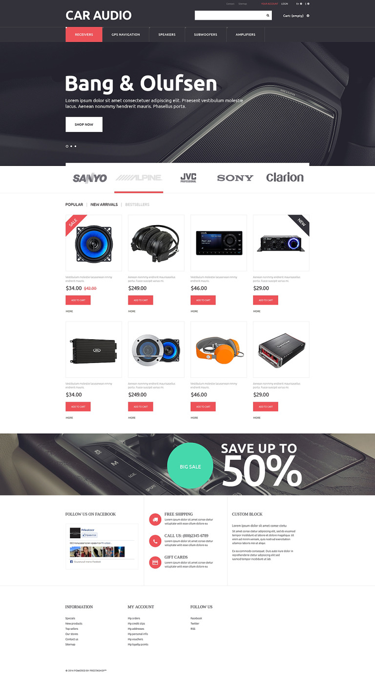 Car Audio Video PrestaShop Theme New Screenshots BIG