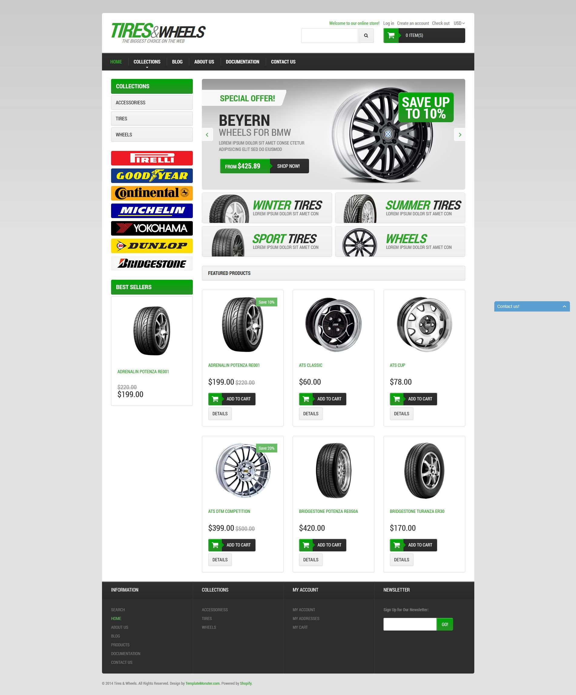 """Car Tires"" 响应式Shopify模板 #51376 - 截图"