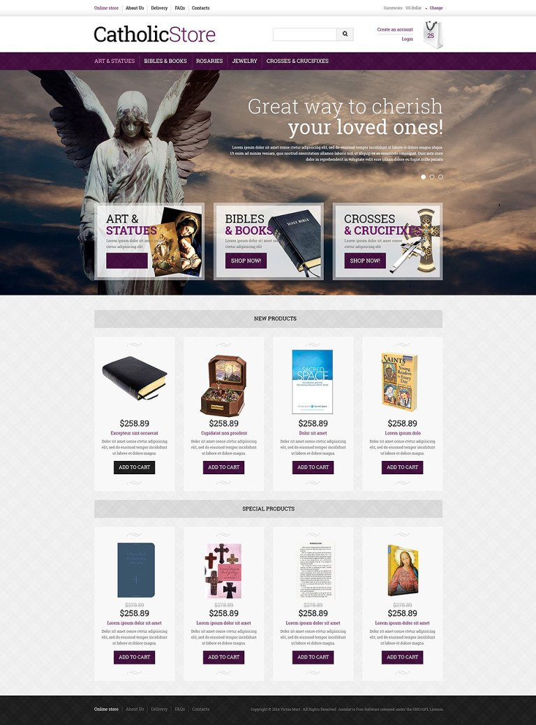 Catholic Gifts VirtueMart Template New Screenshots BIG