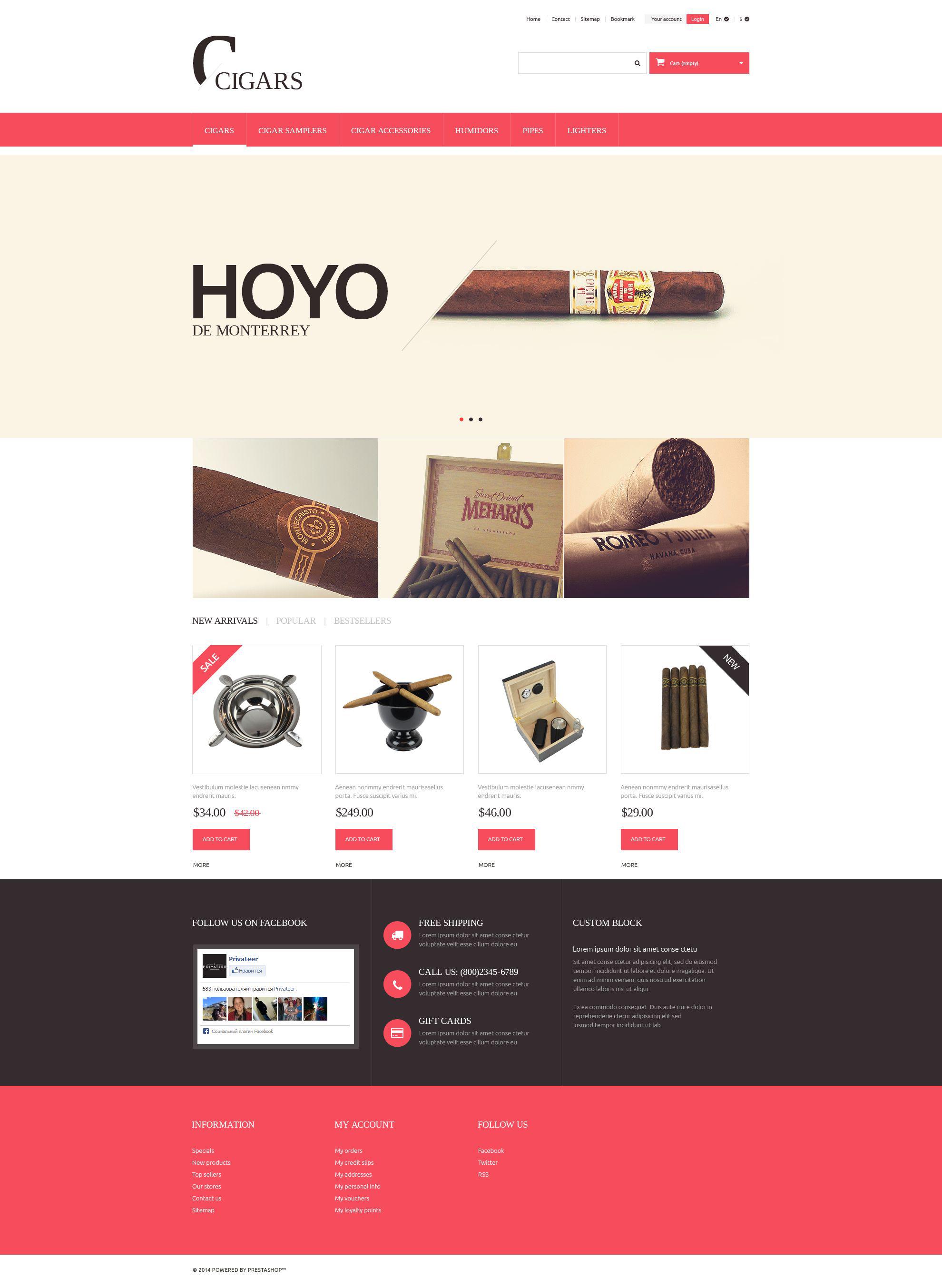 """Cigars"" Responsive PrestaShop Thema №51373 - screenshot"