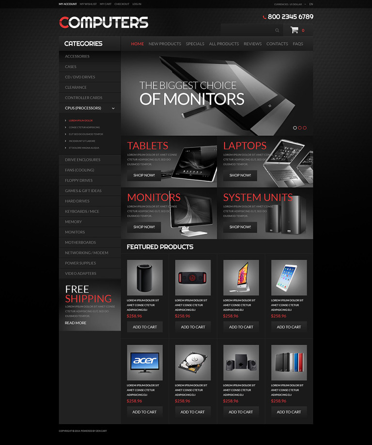 Computer Hardware ZenCart Template New Screenshots BIG