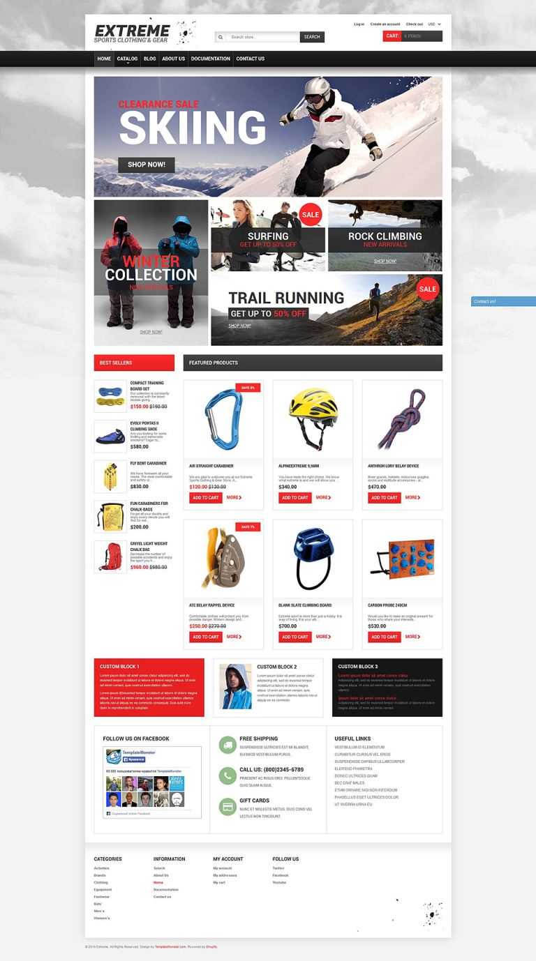 Extreme Sports Gear Shopify Theme New Screenshots BIG