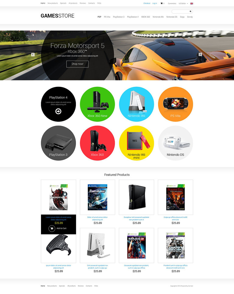Games ZenCart Template New Screenshots BIG
