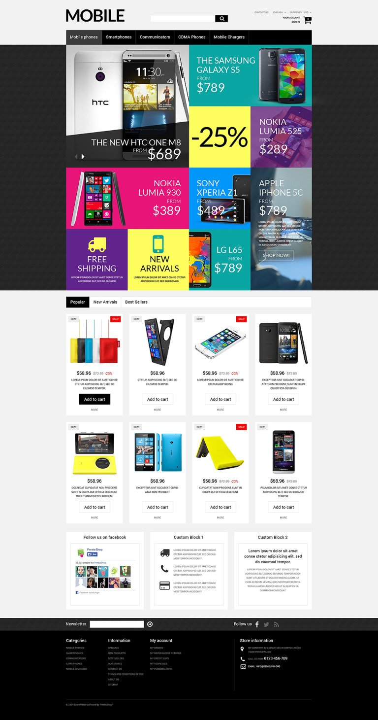 Handheld Devices PrestaShop Theme New Screenshots BIG