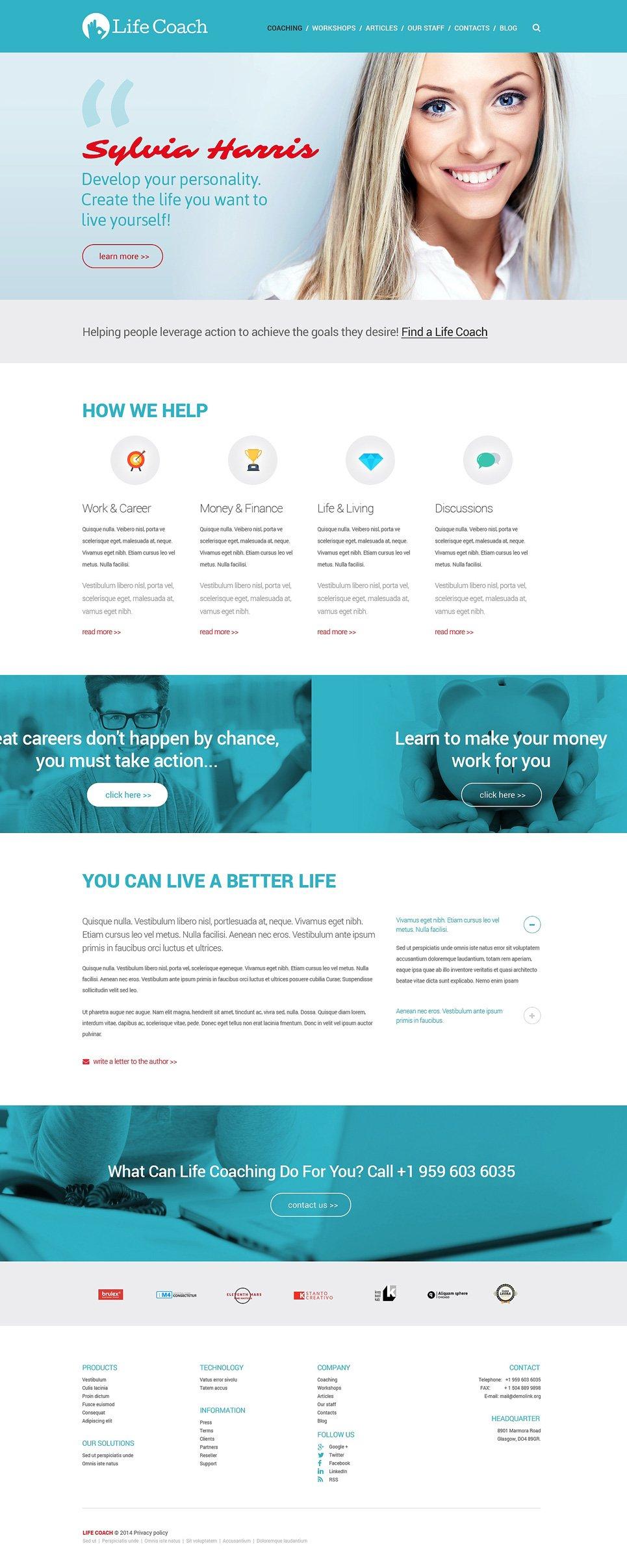 Life Coach Responsive Website Template #51332