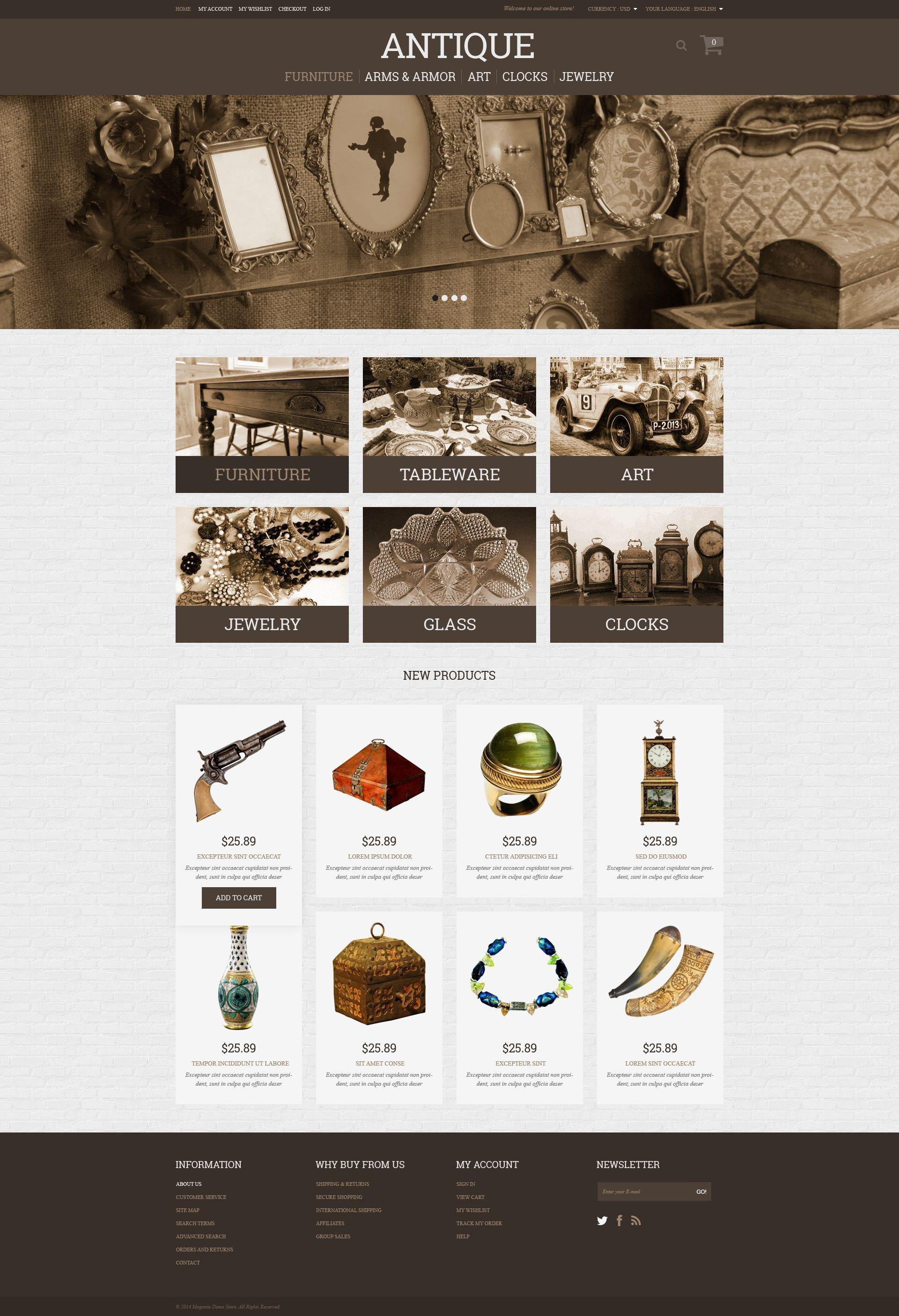 "Modello Magento Responsive #51359 ""Antique Store"""