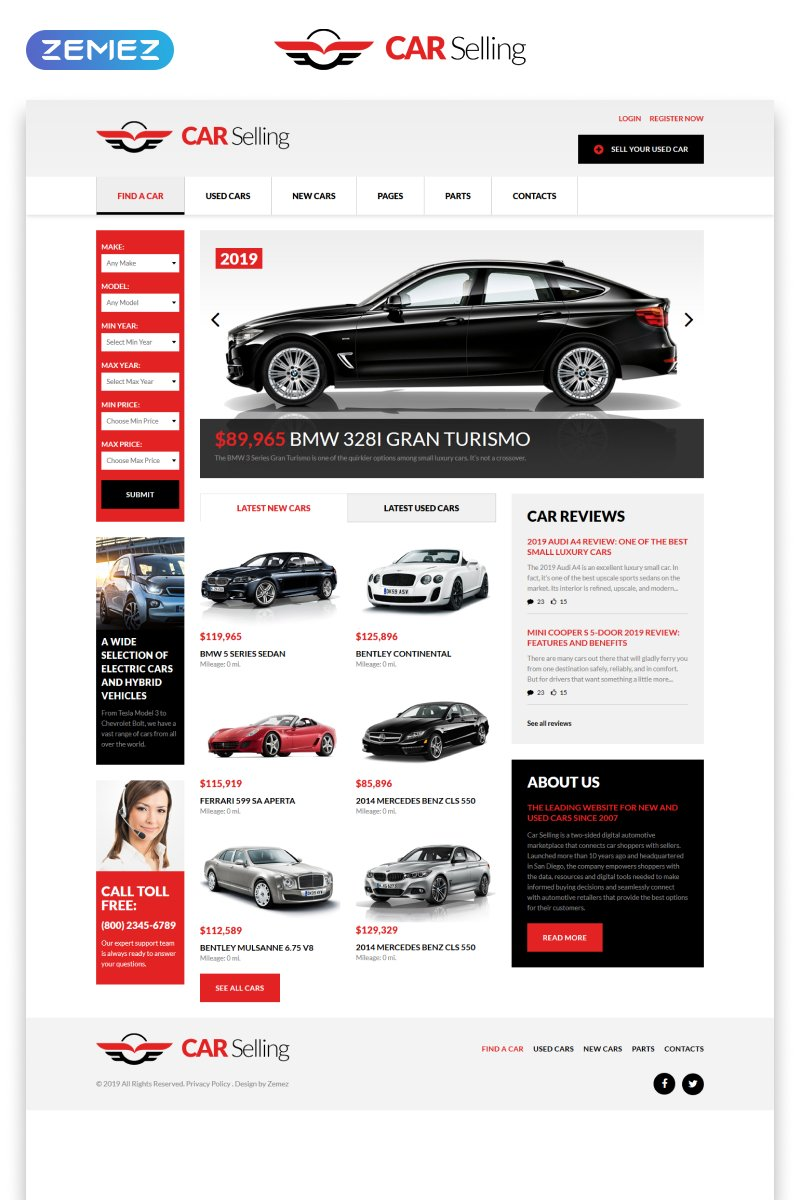 "Modello Siti Web Responsive #51380 ""Car Selling - Car Dealer Multipage Clean HTML"""