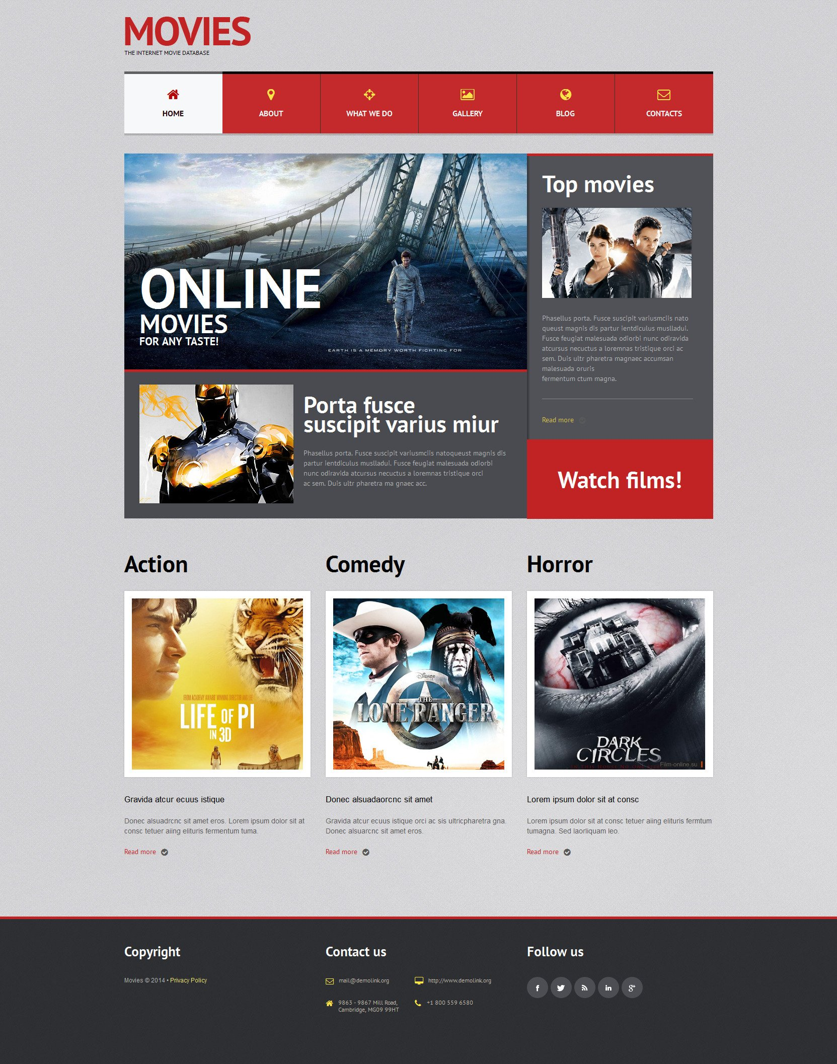 Movie Bootstrap Themes | TemplateMonster
