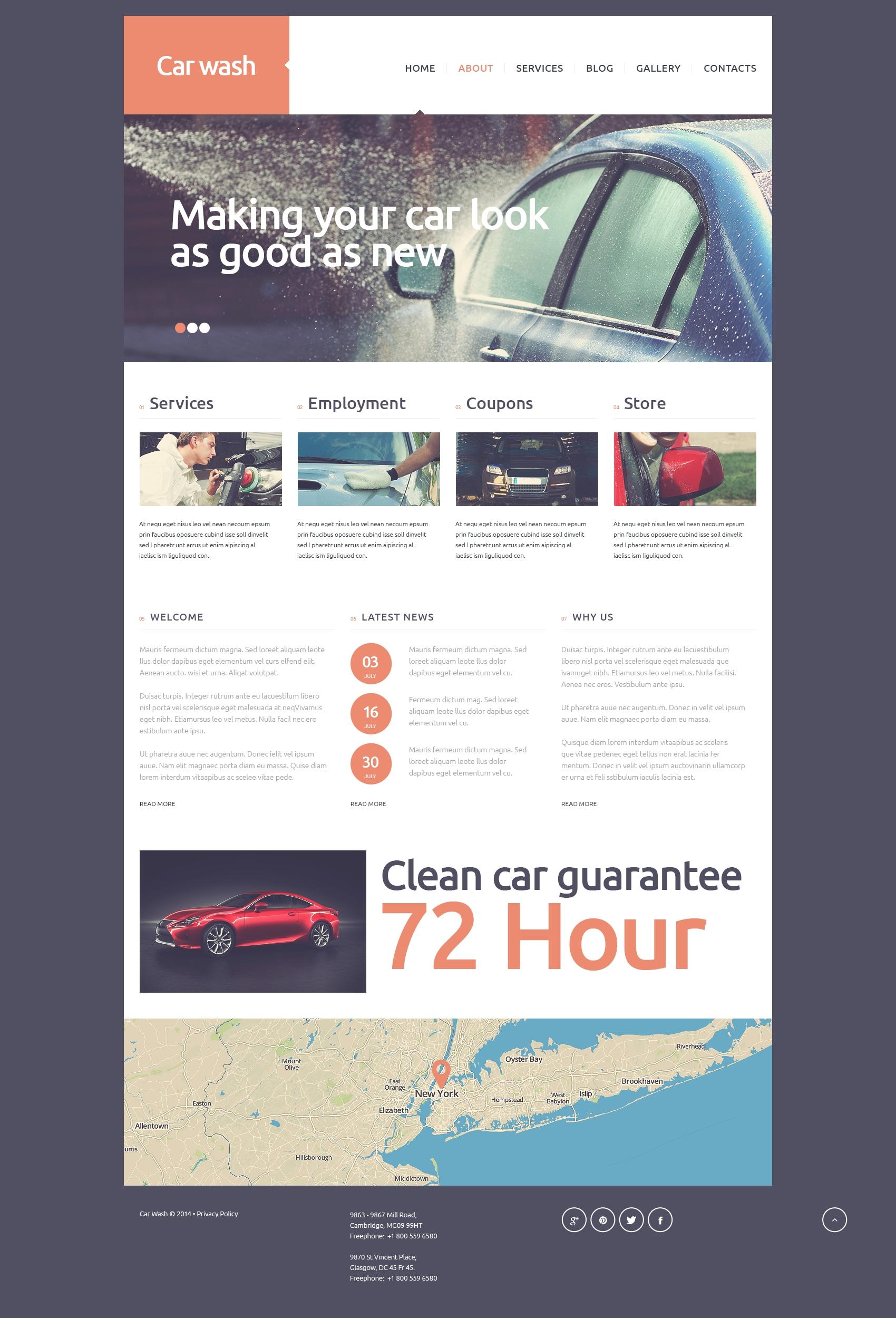 Plantilla Joomla #51326 para Sitio de Lavado de autos