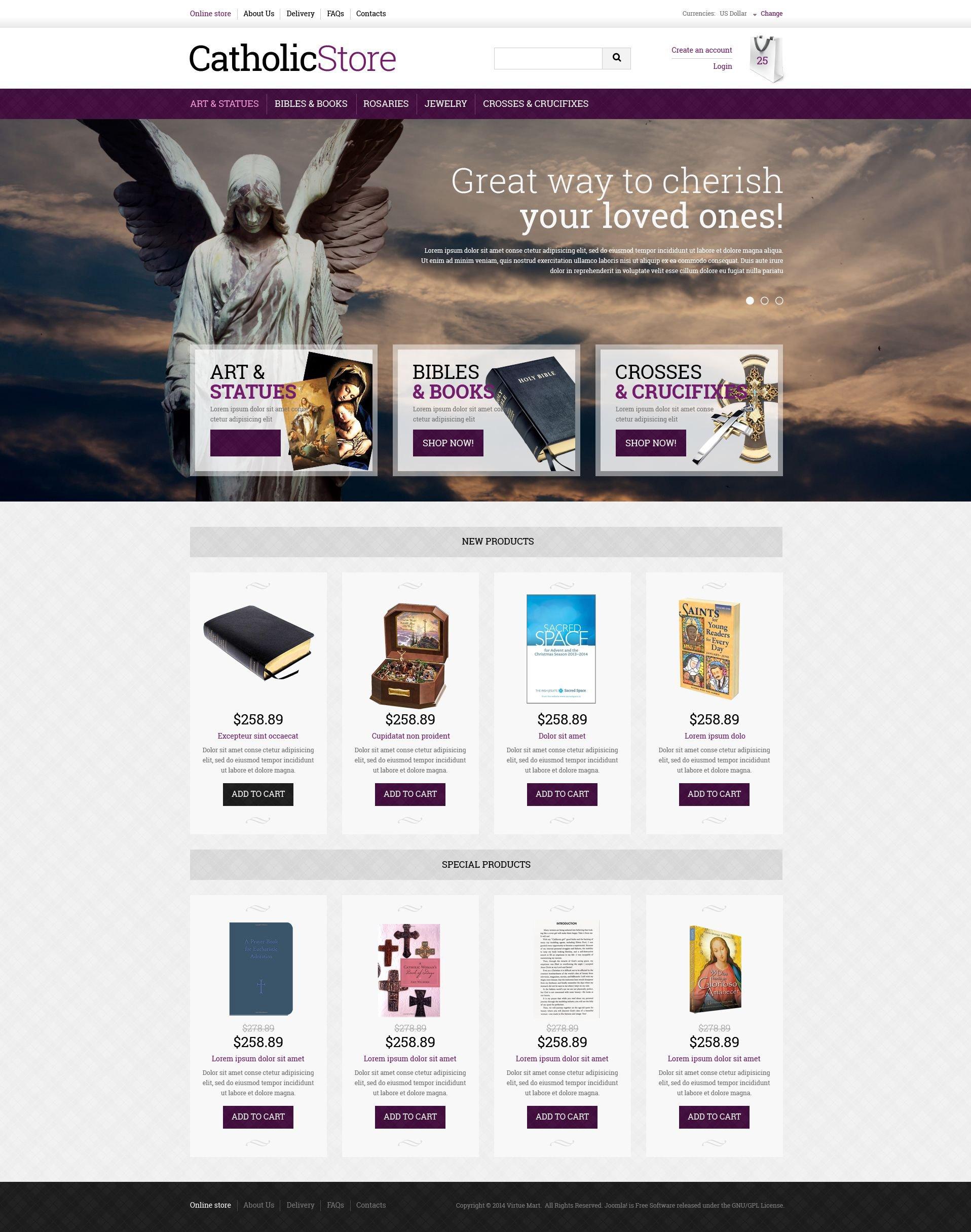 """Plantilla VirtueMart """"Catholic Gifts"""" #51365"""
