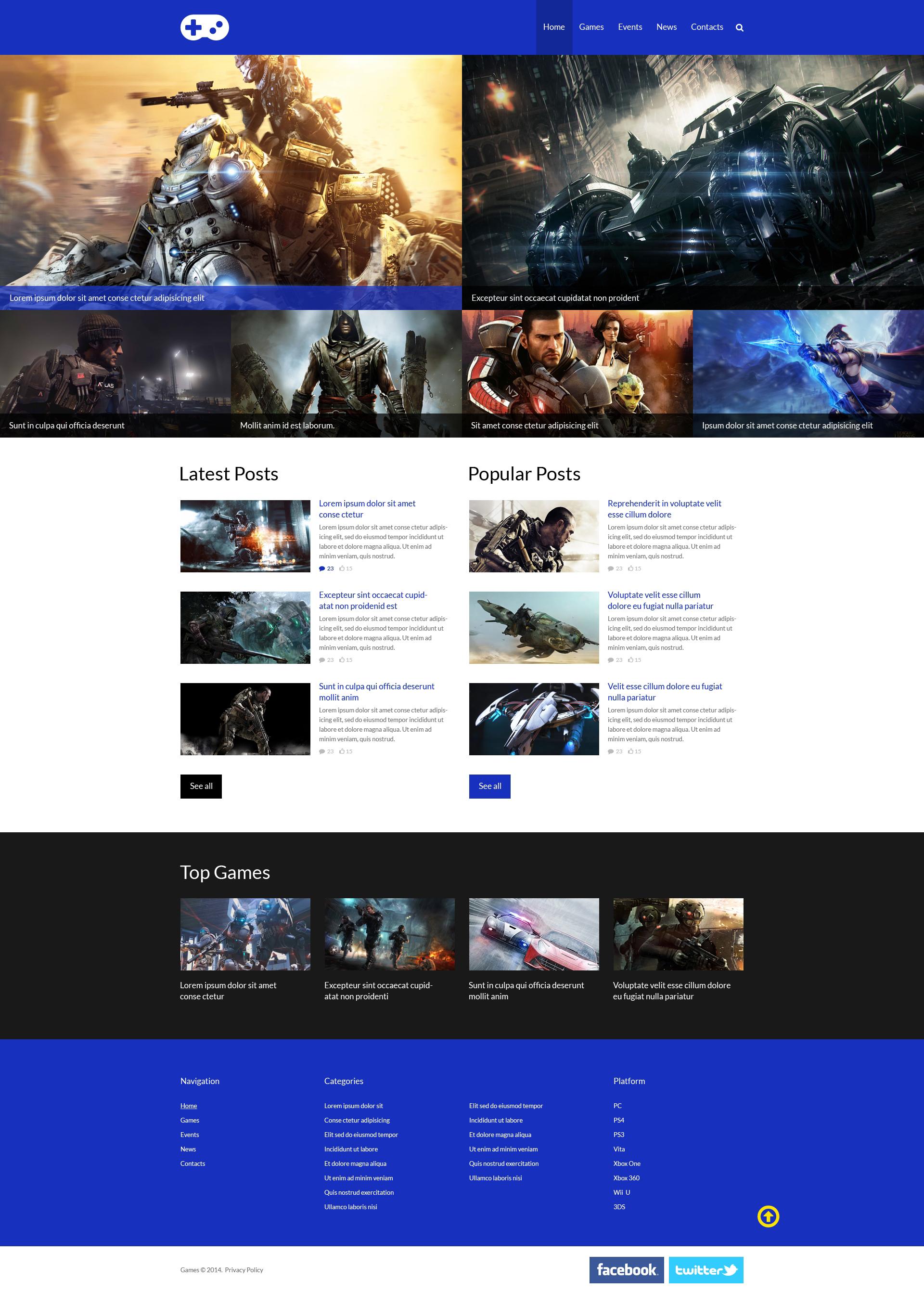 Plantilla Web Responsive para Sitio de Portal de Juegos #51312