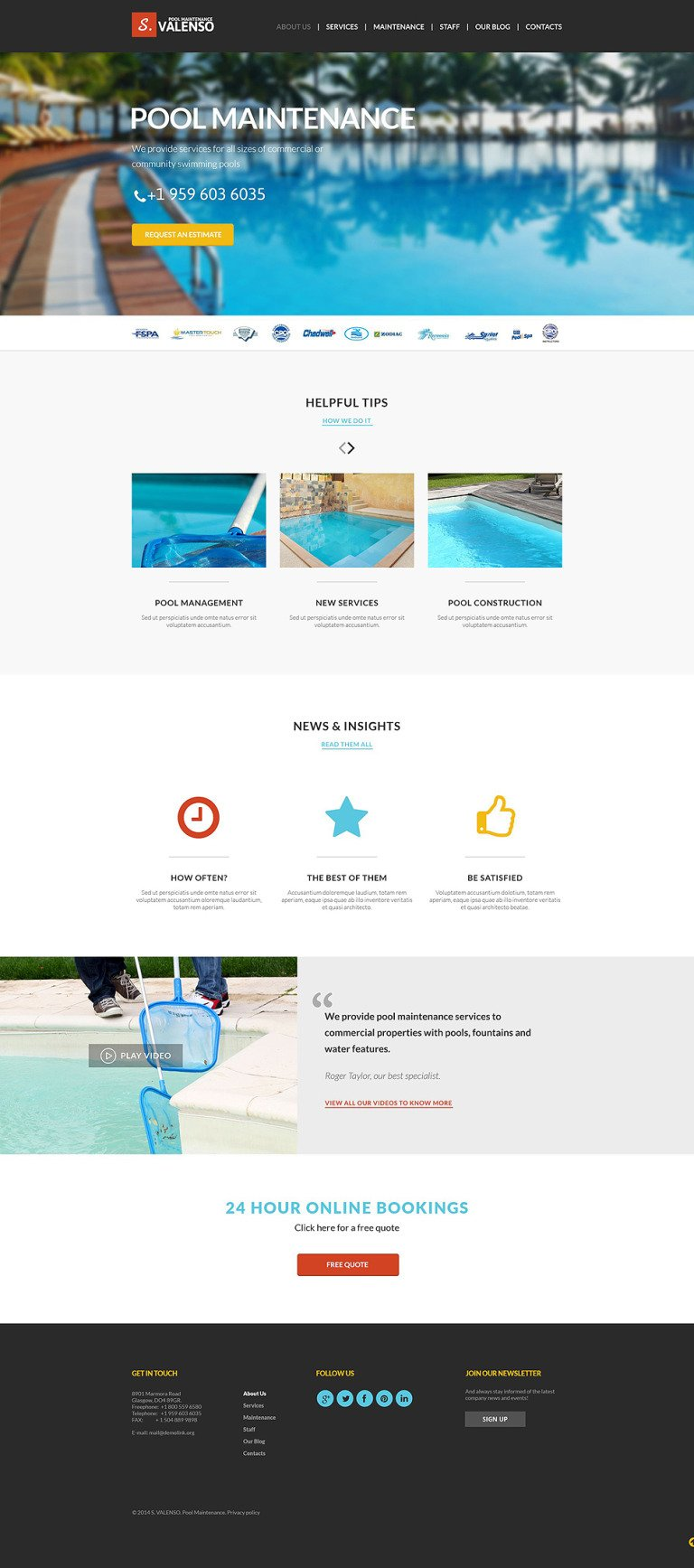 Pool Maintenance Joomla Template New Screenshots BIG