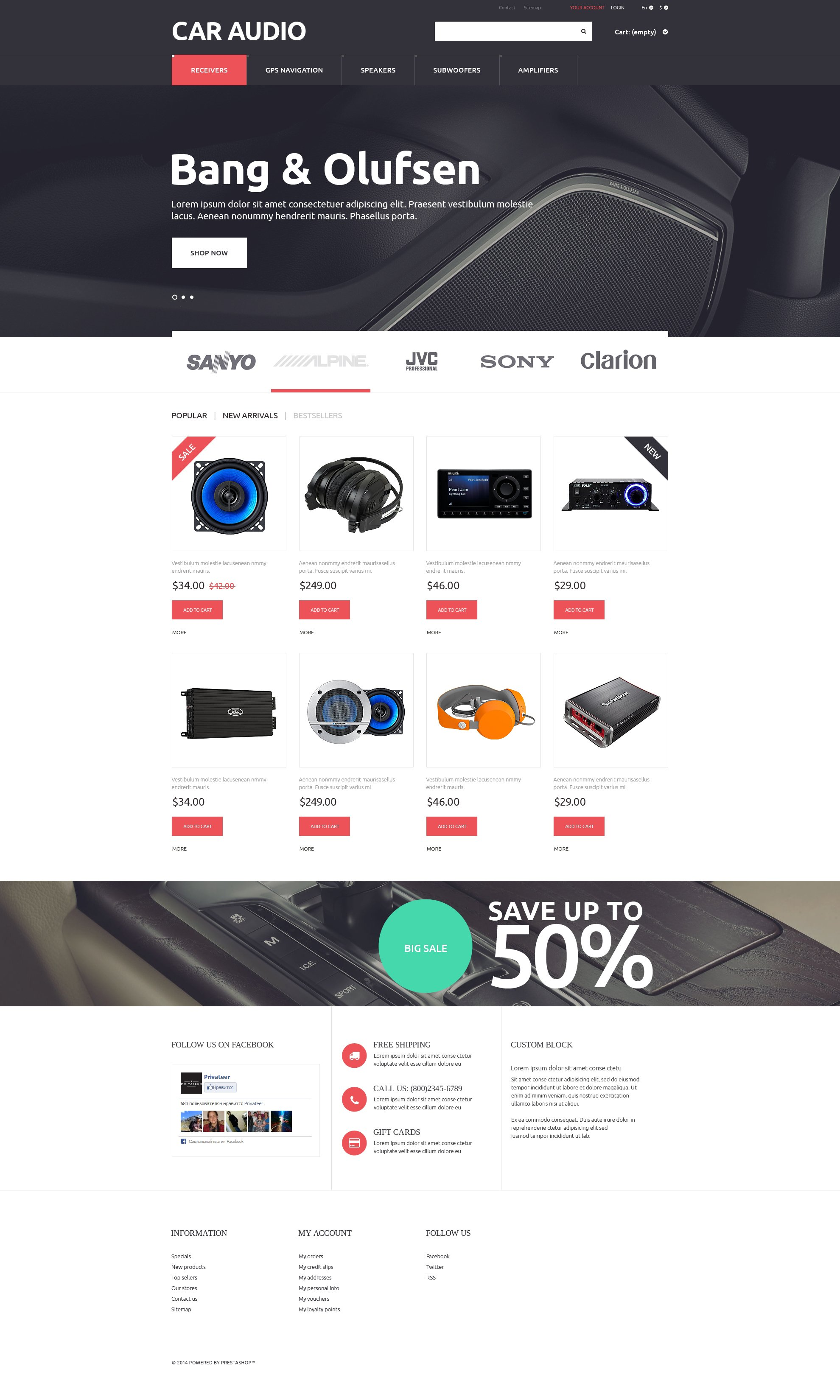"PrestaShop Theme namens ""Car Audio  Video"" #51320 - Screenshot"