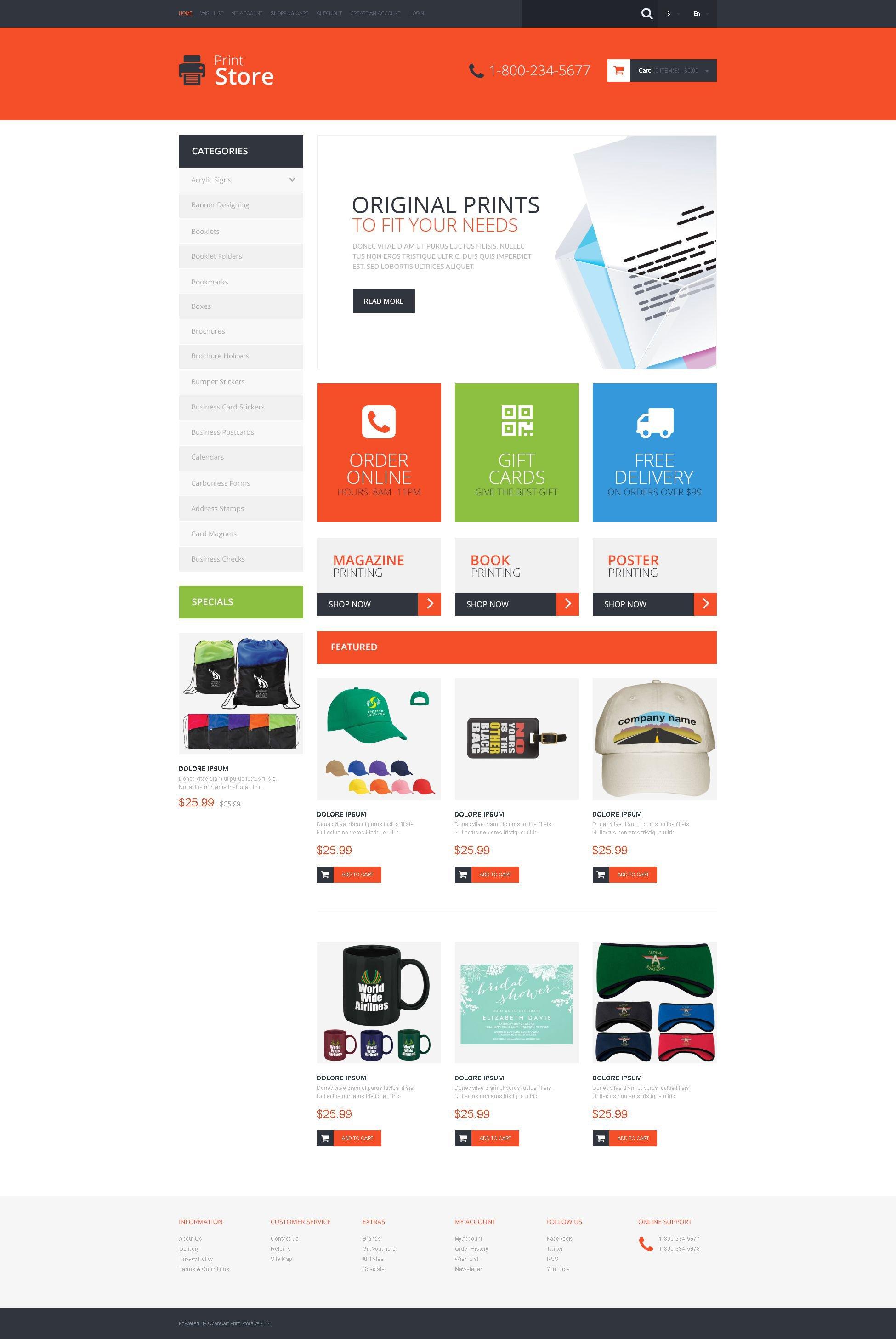 Print Shop Responsive OpenCart Template #51383
