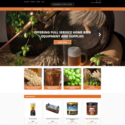 Homebrew Supply Shop - Responsive Magento Template