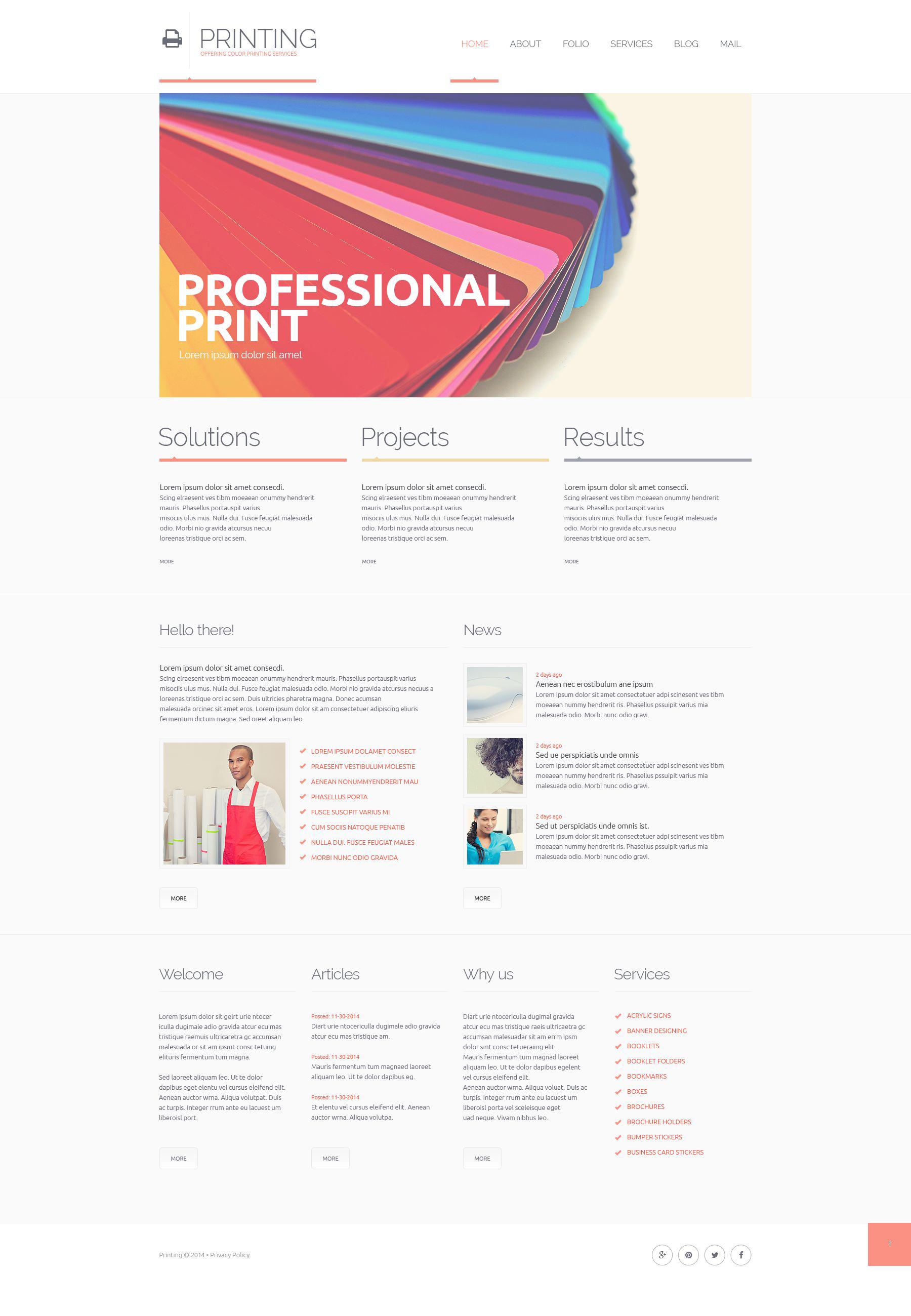 Responsive Website Vorlage für Druckerei #51368