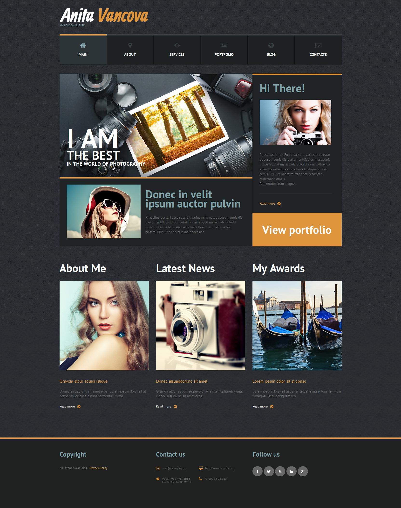 Responsive WordPress thema over Persoonlijke pagina №51302 - screenshot