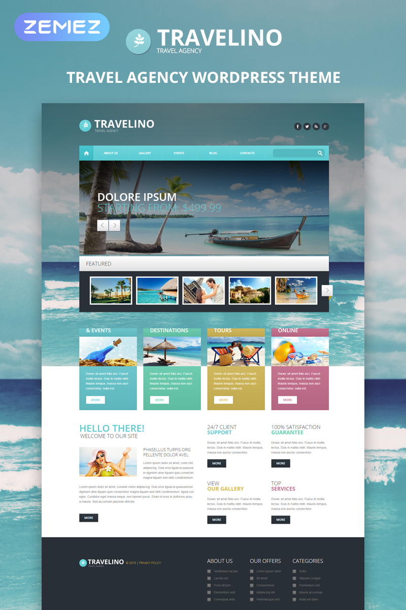 Responsives WordPress Theme für Reisebüro #51349