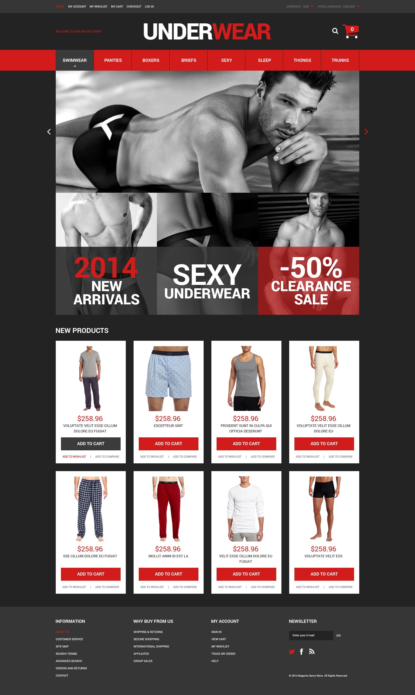 Responsivt Underwear for Men Magento-tema #51321