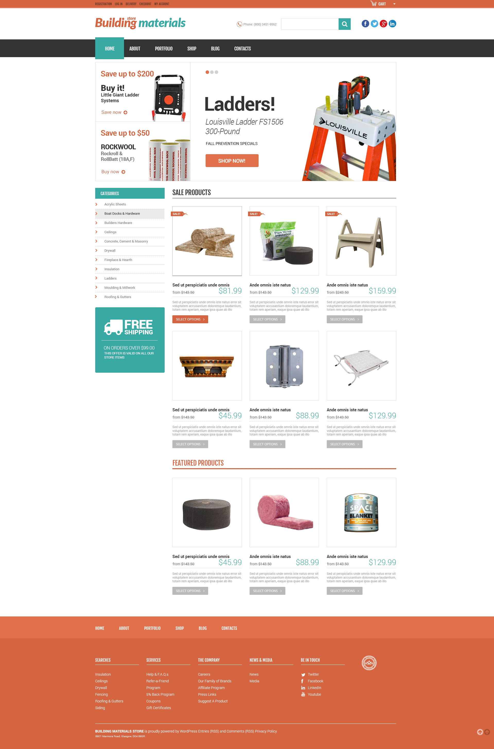 Responsywny motyw WooCommerce Universal Building Supplies #51311
