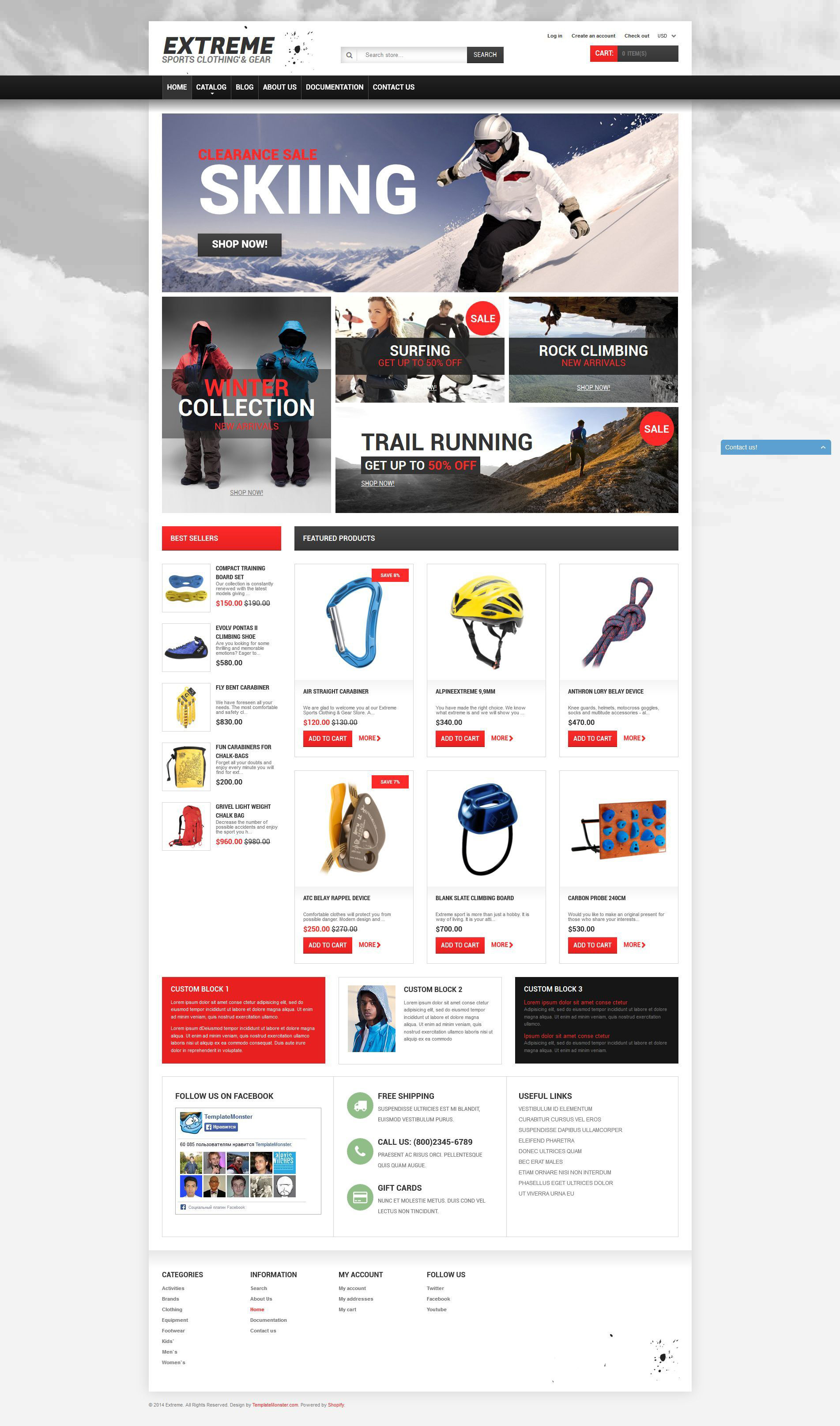 Responsywny szablon Shopify Sklep sprzętu do sportów ekstremalnych #51377