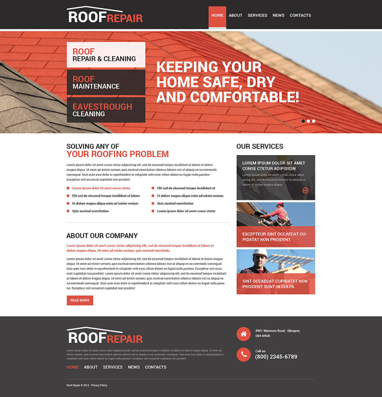 Roofing Company Responsive Drupal Template New Screenshots BIG