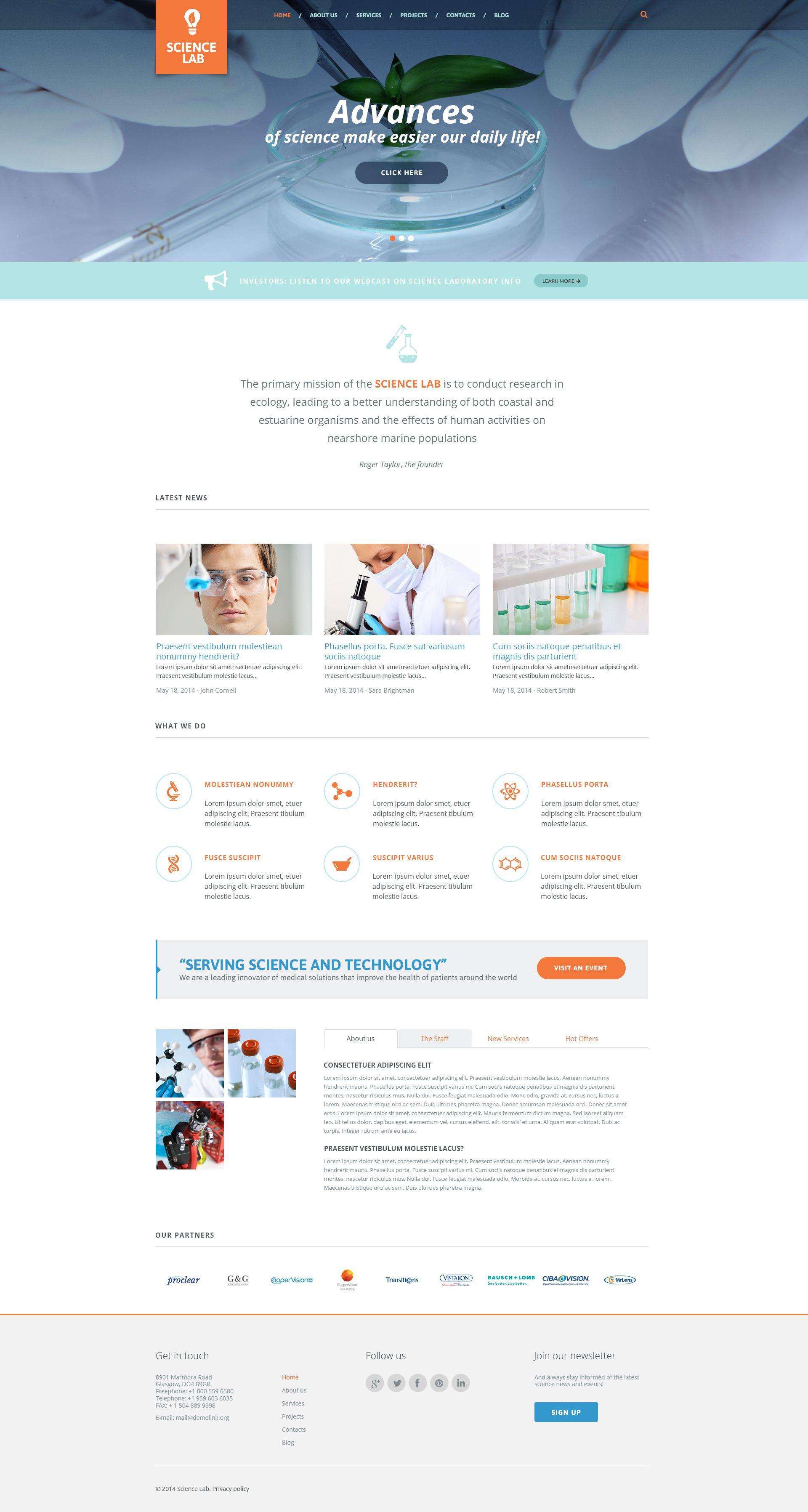 """""""Science Lab"""" - адаптивний WordPress шаблон №51392"""