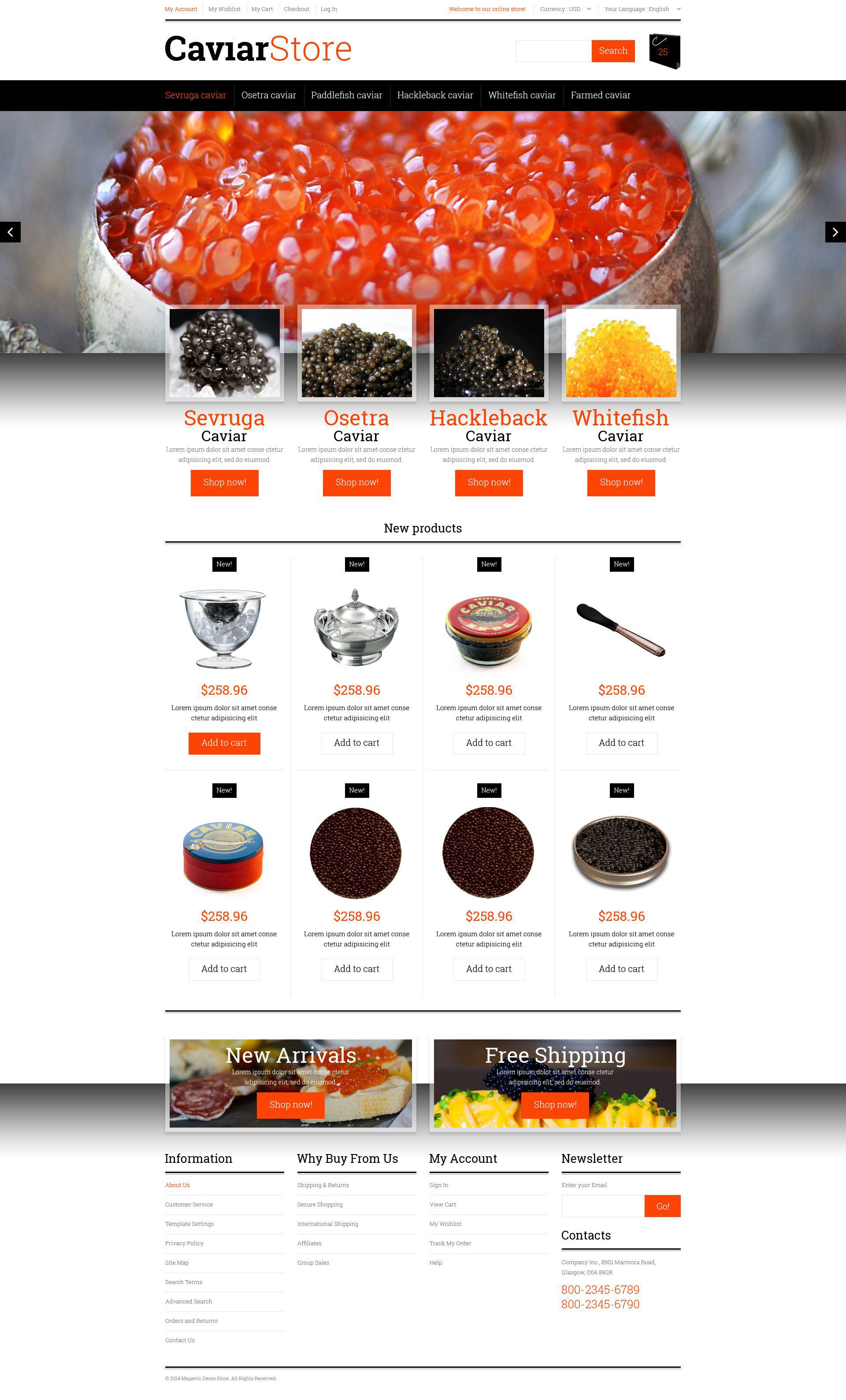 Sell  Buy Caviar Magento Theme