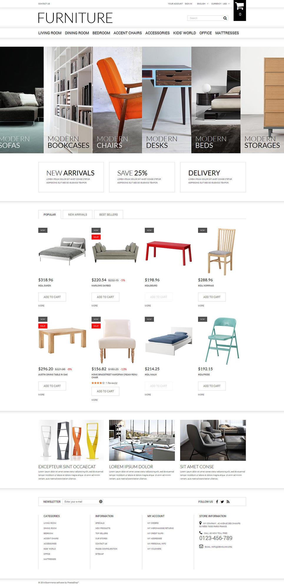 Selling Furniture Online PrestaShop Theme New Screenshots BIG