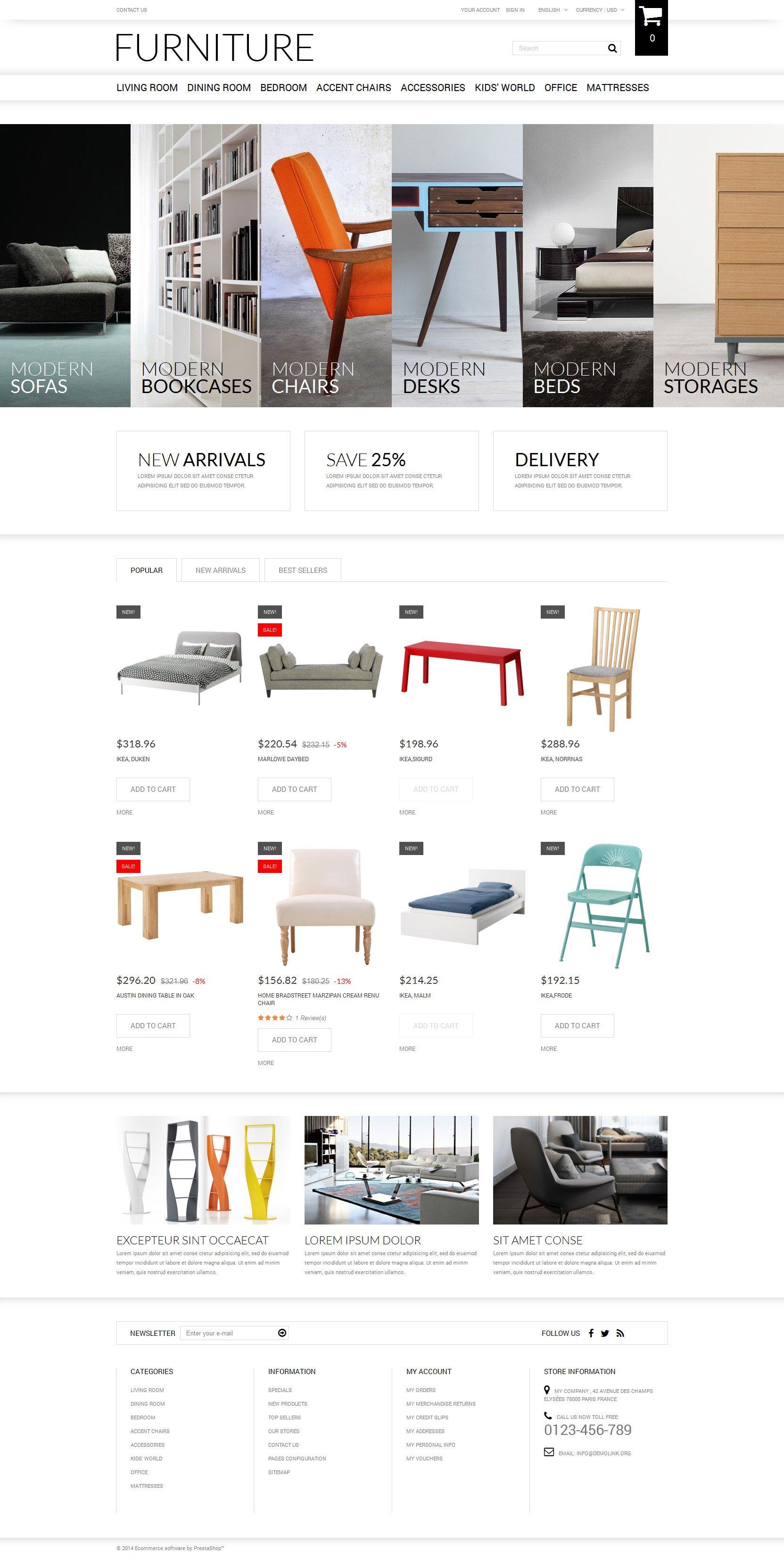 Selling Furniture Online PrestaShop Theme