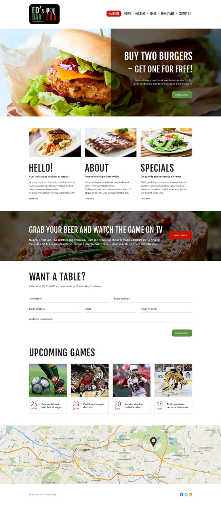 Sports Bar Joomla Template New Screenshots BIG