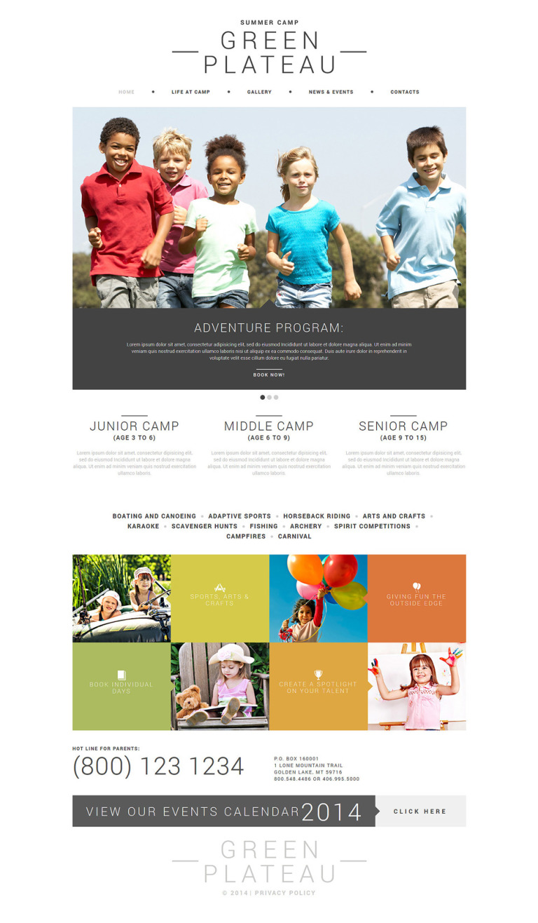 Summer Camp Joomla Template New Screenshots BIG
