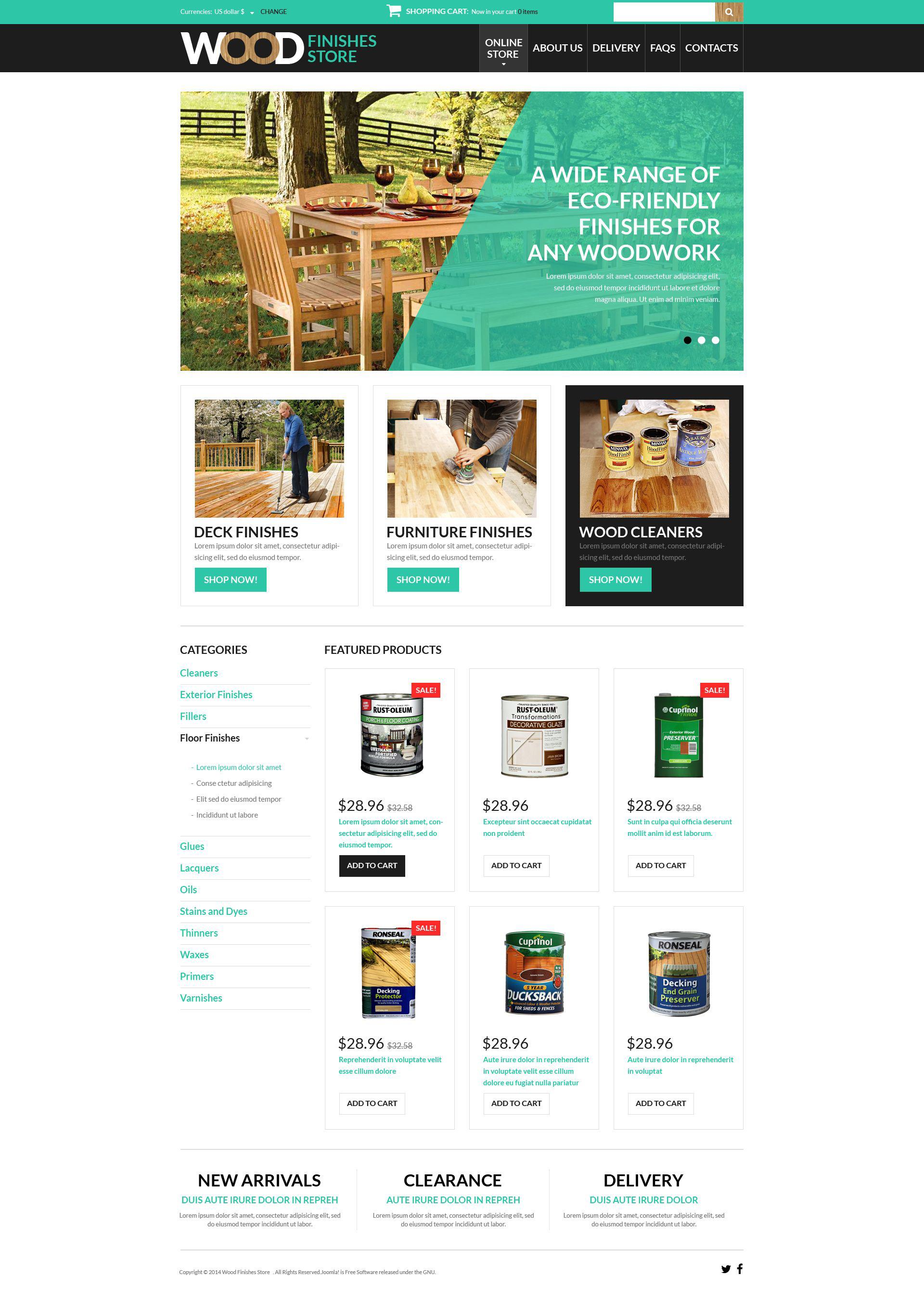 """Tema VirtueMart #51366 """"Wood Finishes Store"""""""