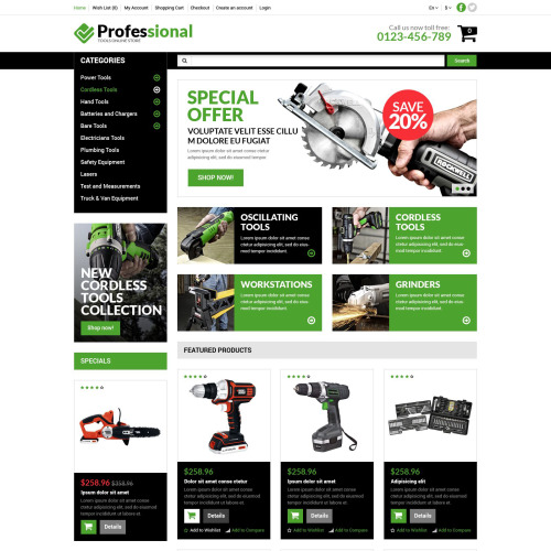 Professional   - Online Tools Store Template based on Bootstrap