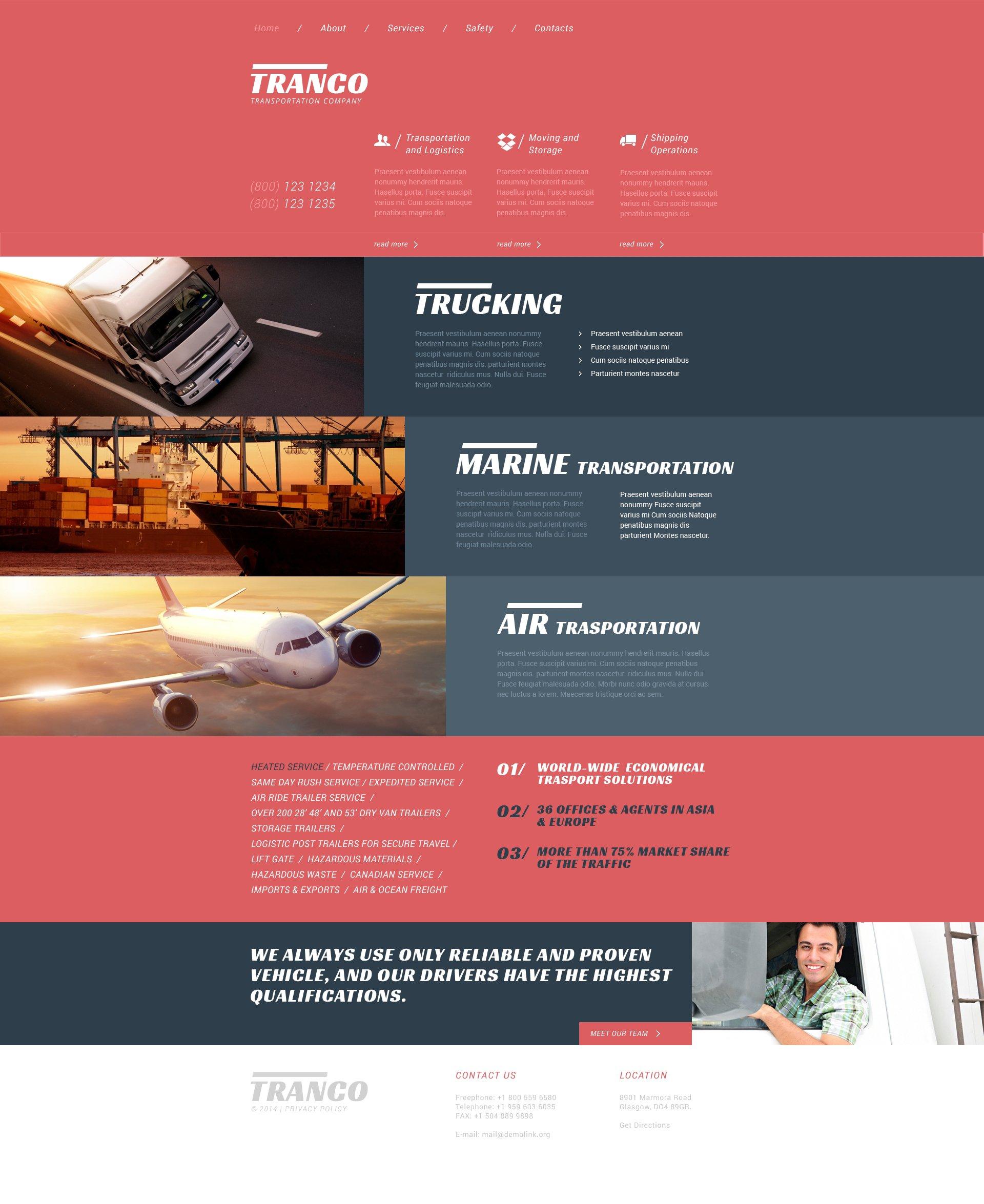 Trucking Responsive Website Template #51335