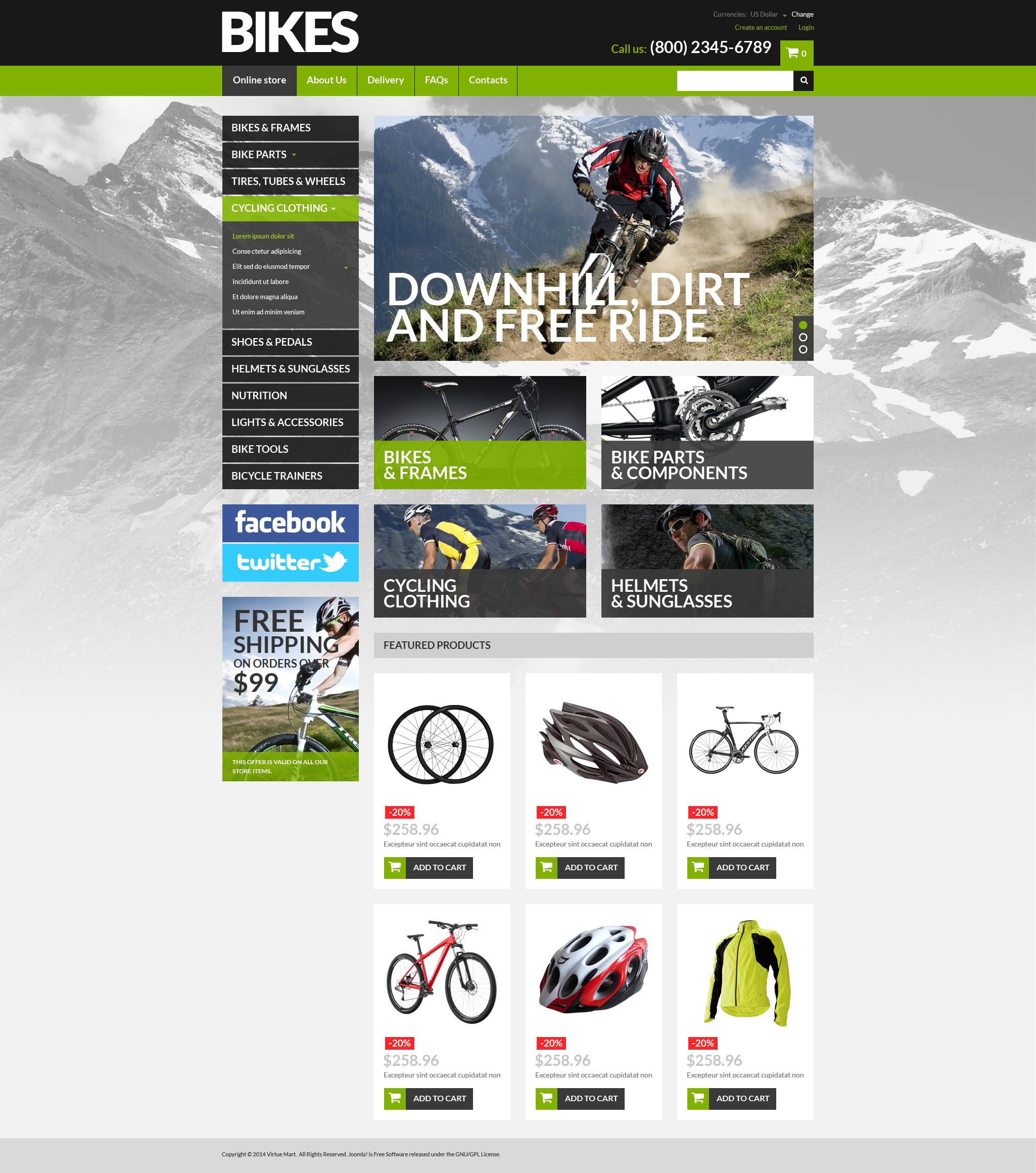 VirtueMart шаблон №51319 на тему велосипеды