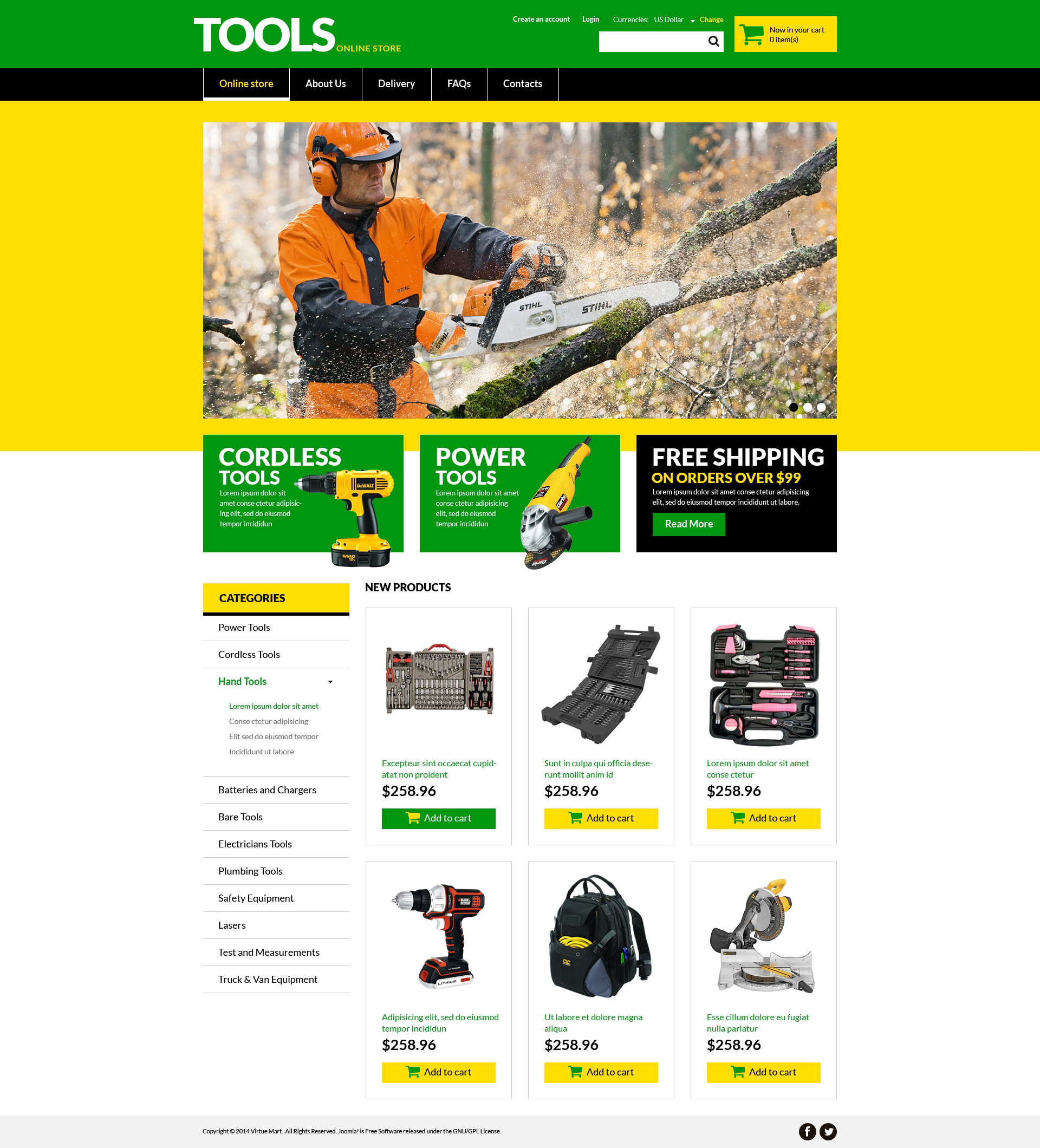 VirtueMart шаблон №51330 на тему инструменты и оборудование