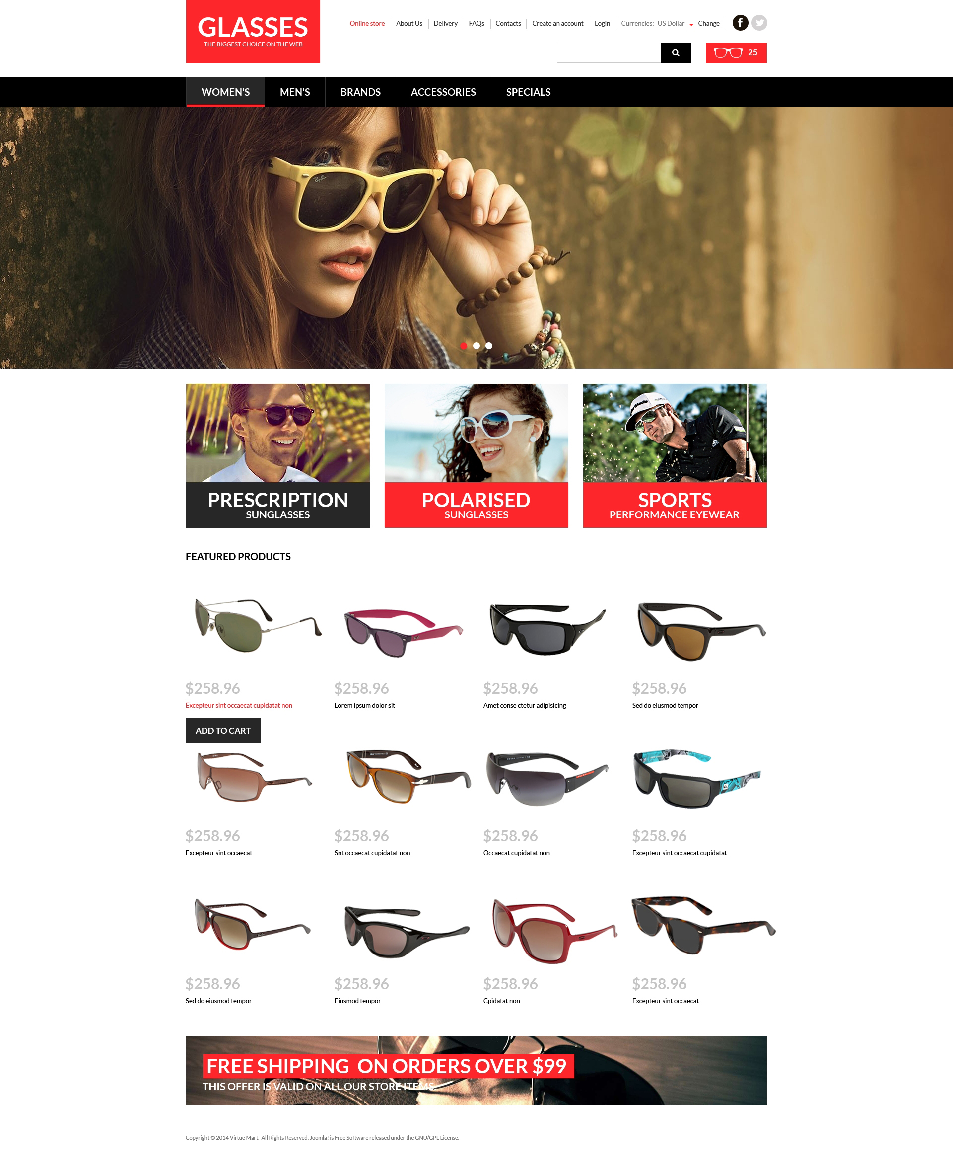 VirtueMart шаблон №51331 на тему солнцезащитные очки