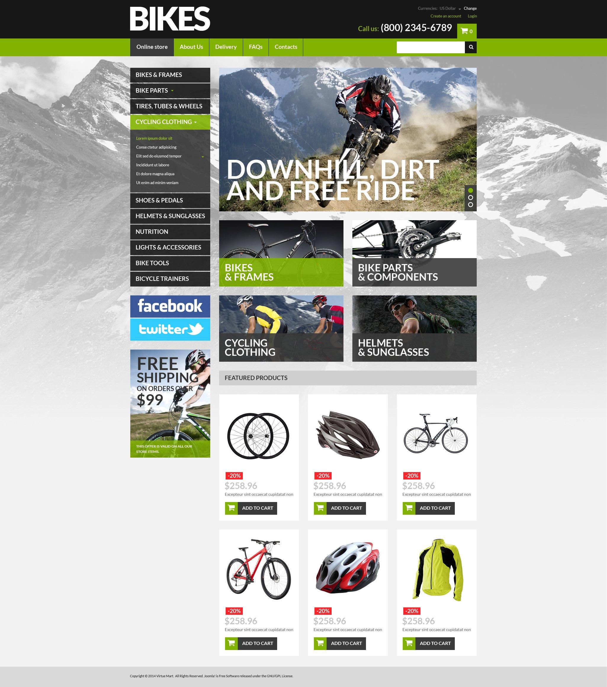 VirtueMart Vorlage für  Fahrrad Shop #51319