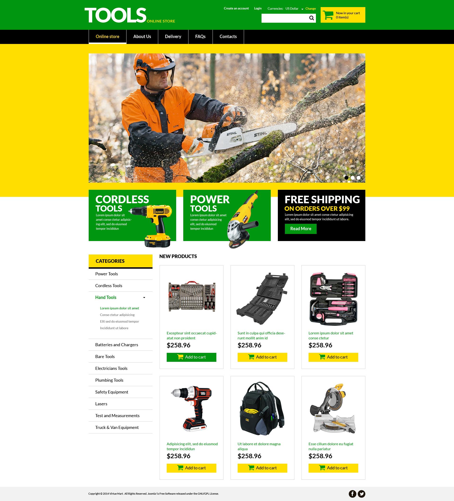 VirtueMart Vorlage für Werkzeuge und Geräte #51330