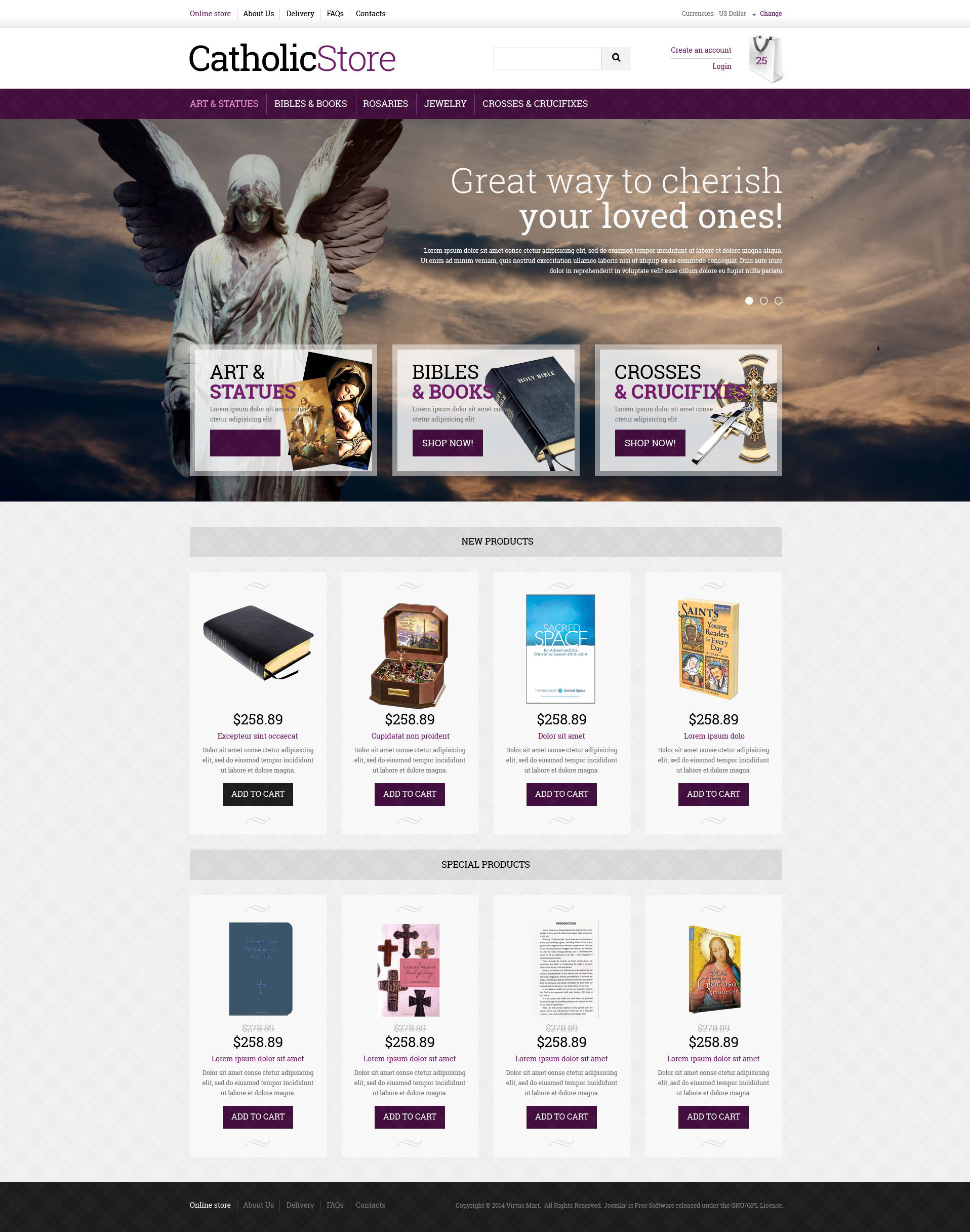 """VirtueMart Vorlage namens """"Katholische Geschenke"""" #51365"""