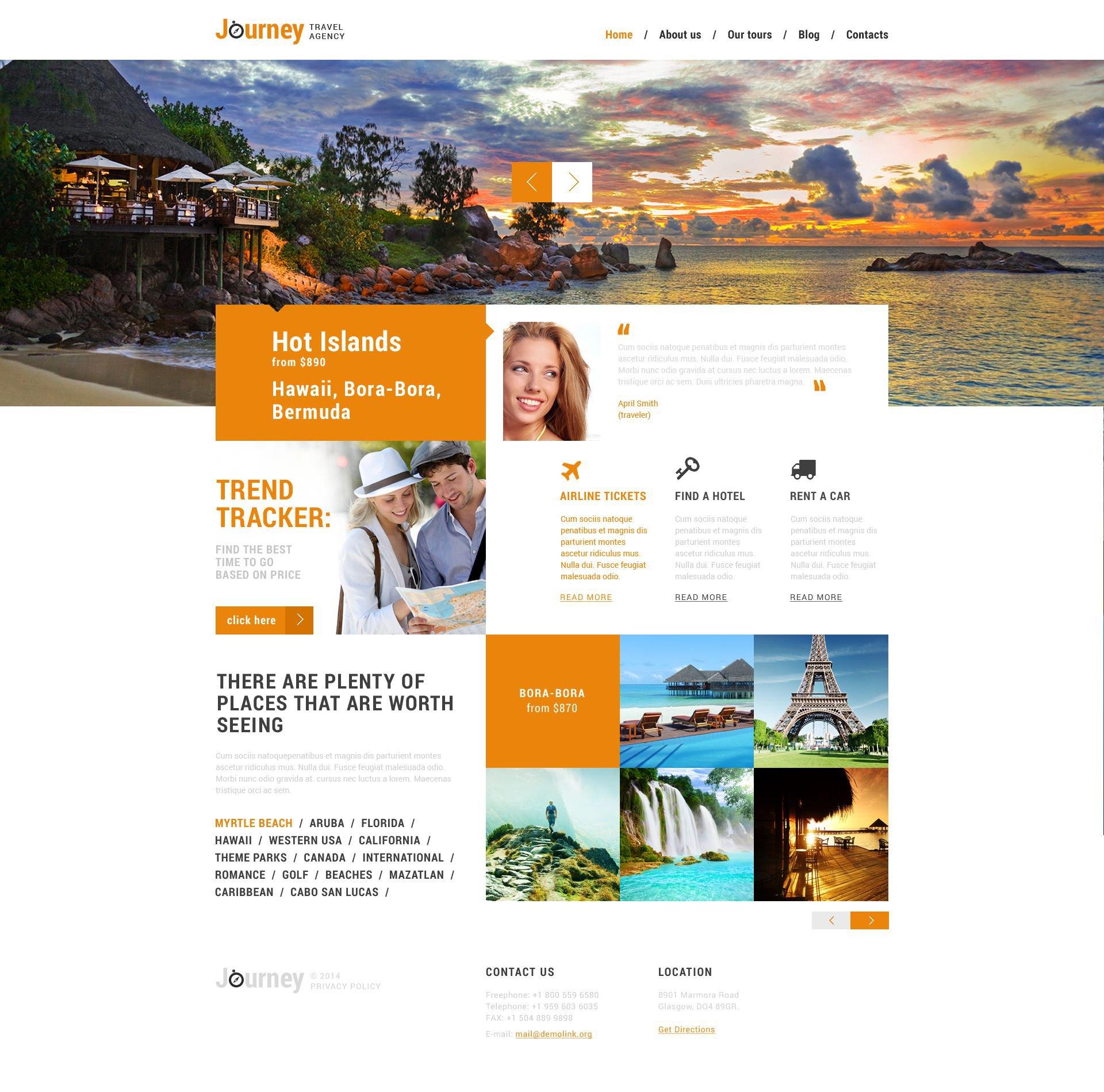 "WordPress Theme namens ""Dream Travel Club"" #51358 - Screenshot"