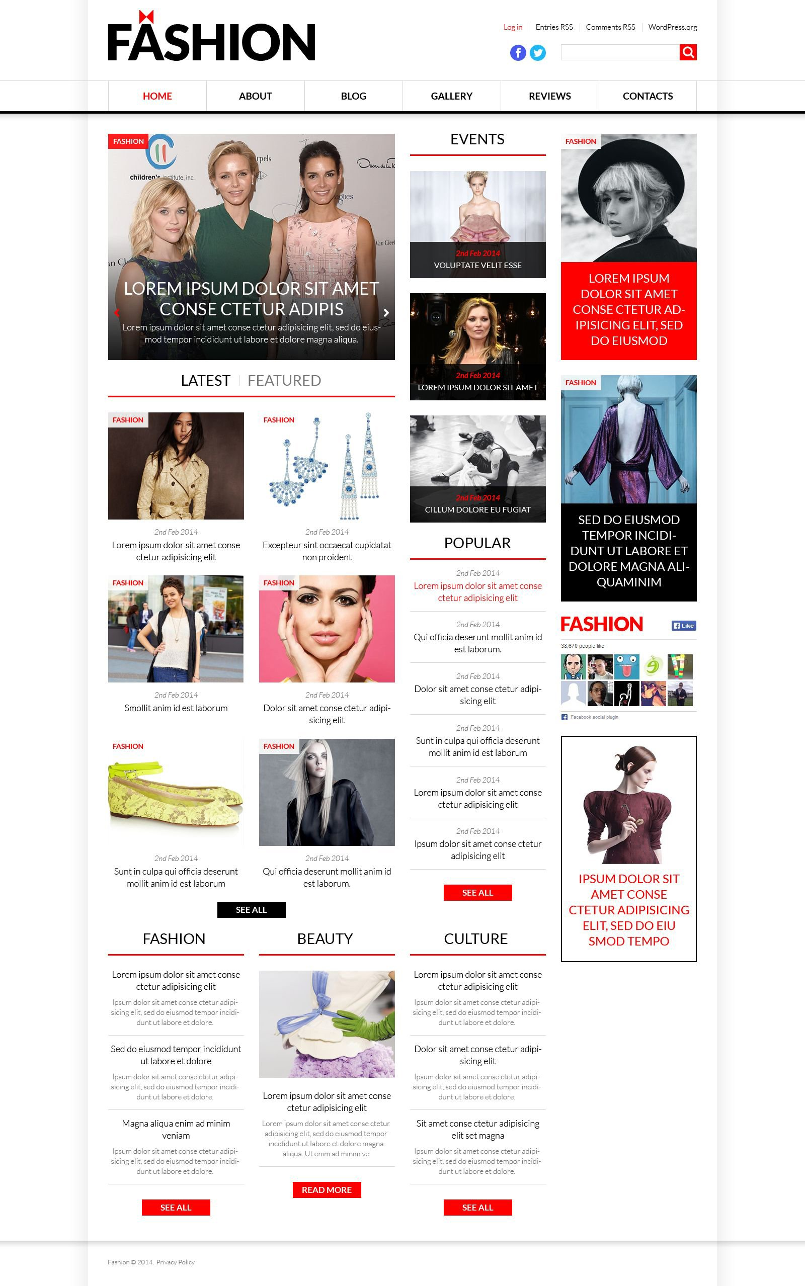 World Fashion News Portal Wordpress Theme 51367