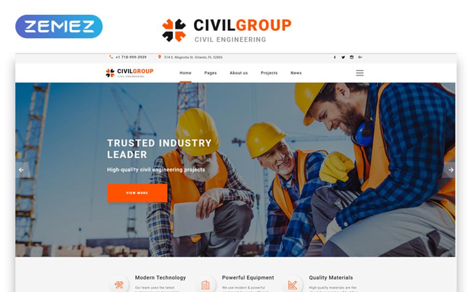 Responsive Website Vorlage für Tiefbau  New Screenshots BIG