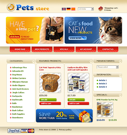 osCommerce Template 51419 Main Page Screenshot