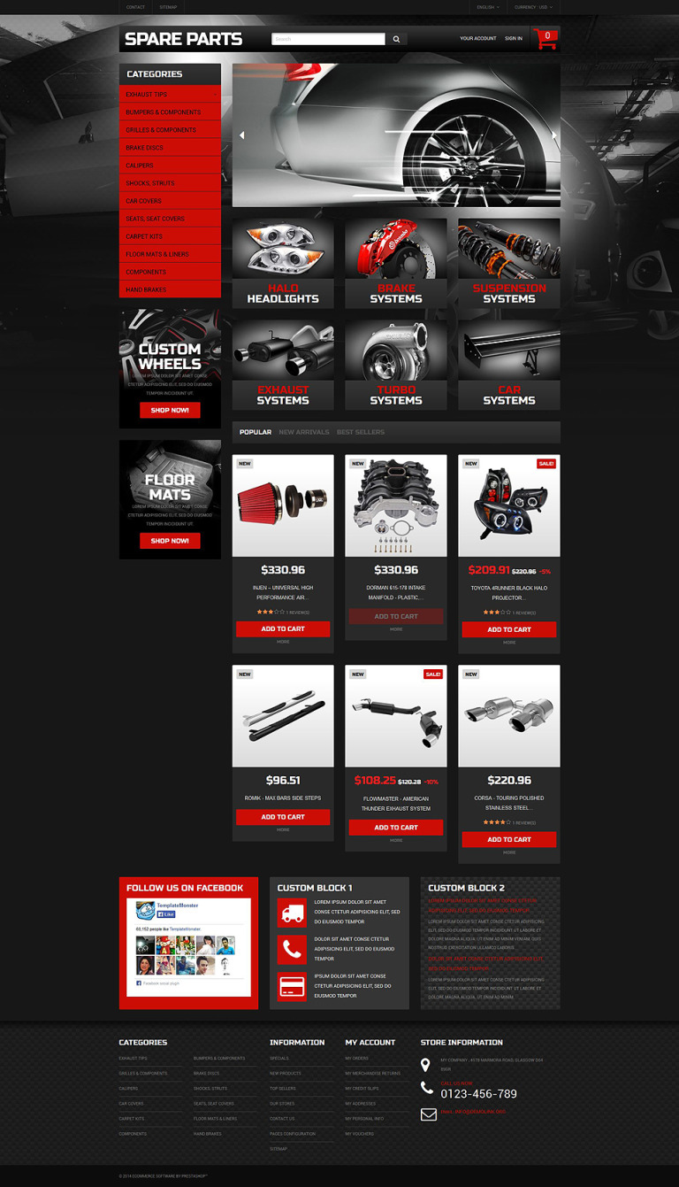 Automobile Replacement Parts PrestaShop Theme New Screenshots BIG