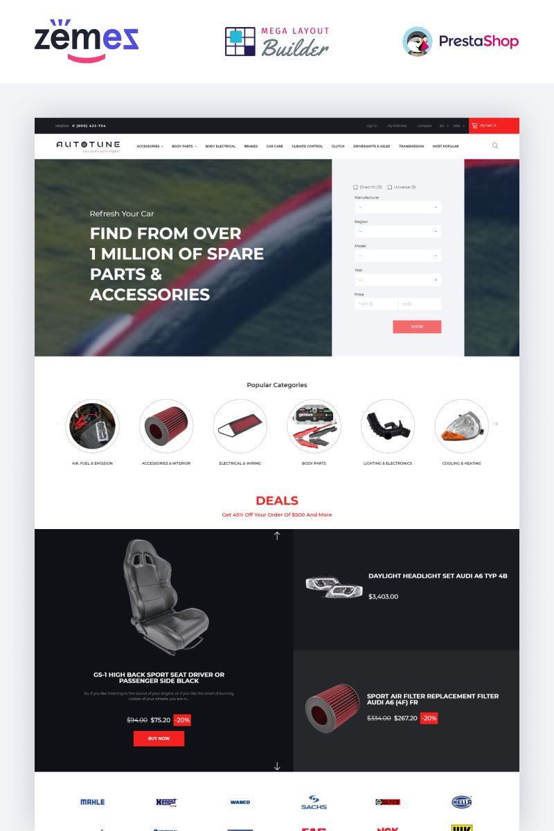 """Autotune - Auto Parts Ecommerce Template"" - адаптивний PrestaShop шаблон №51404"