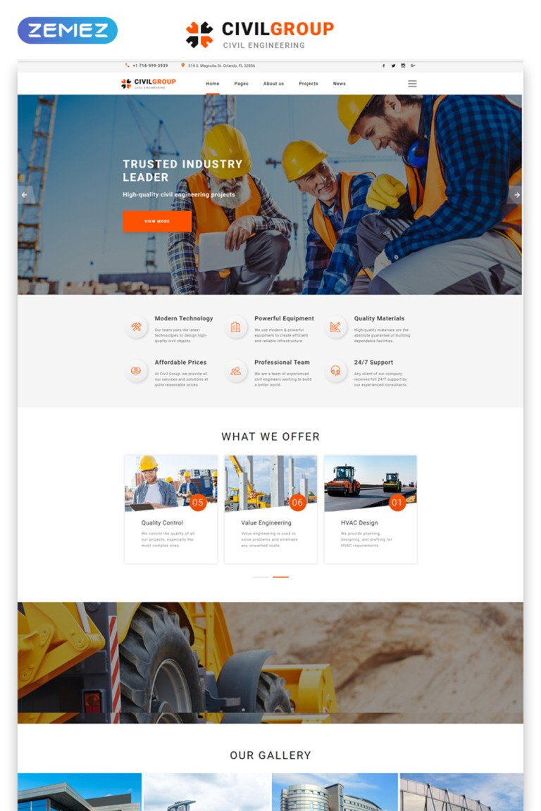 Civil Engineering Responsive Website Template New Screenshots BIG